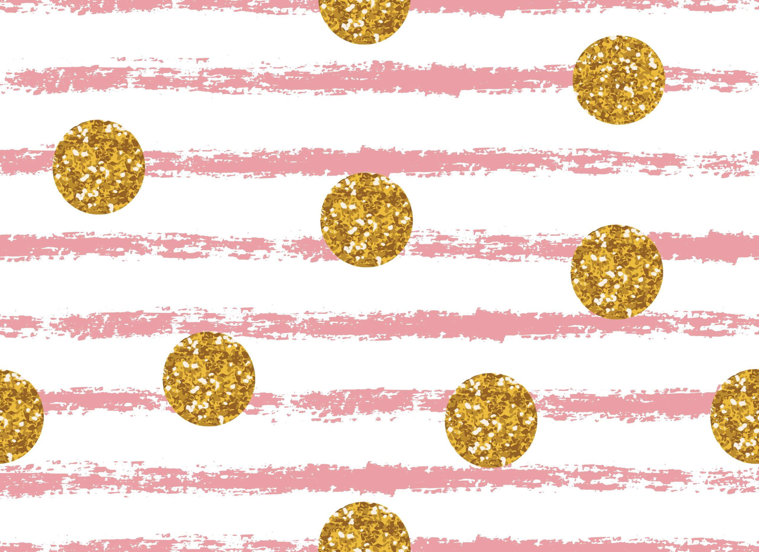 Pink stripes and gold glitter circles seamless pattern. Glamour modern endless texture, background, wallpaper.