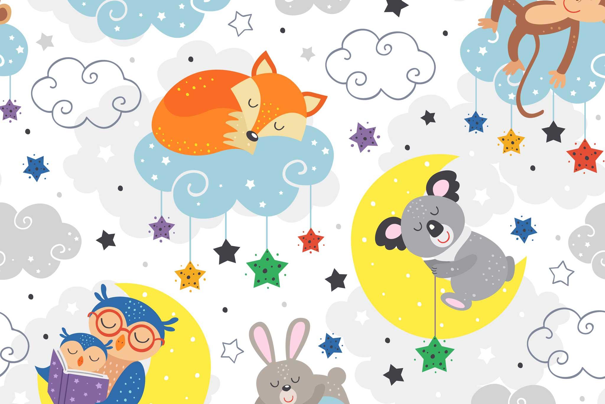 tapet-fototapet-design-decor-mural-customizabil-comanda-personalizat-bucuresti-daring-prints-motiv-model-copii-desen-animale-somn-dormind-koala-vulpite-multicolor