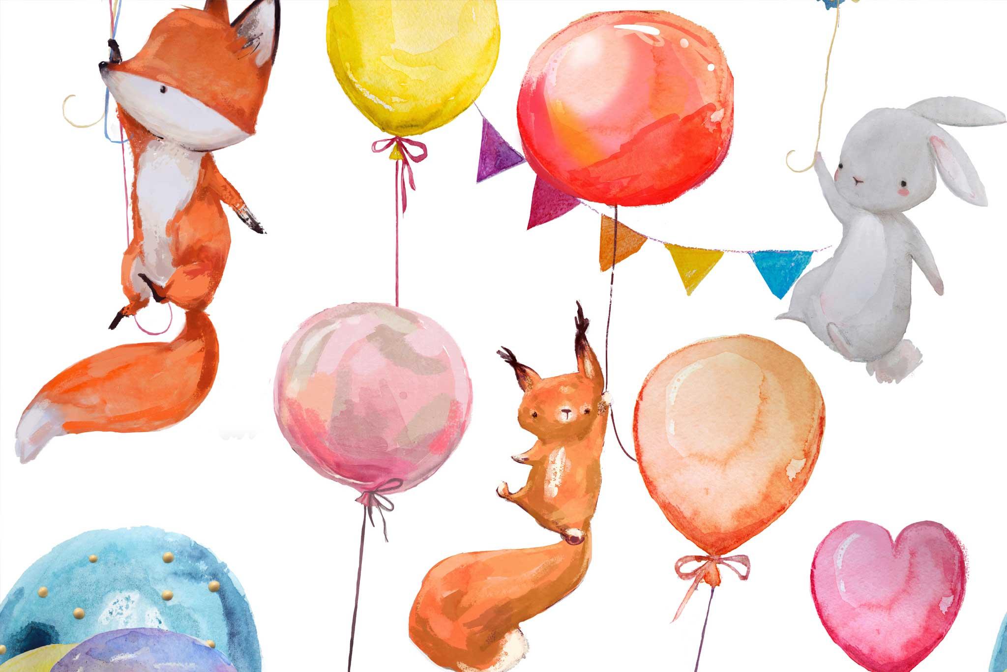 tapet-fototapet-design-decor-mural-customizabil-comanda-personalizat-bucuresti-daring-prints-motiv-model-copii-desen-animale-vulpite-baloane
