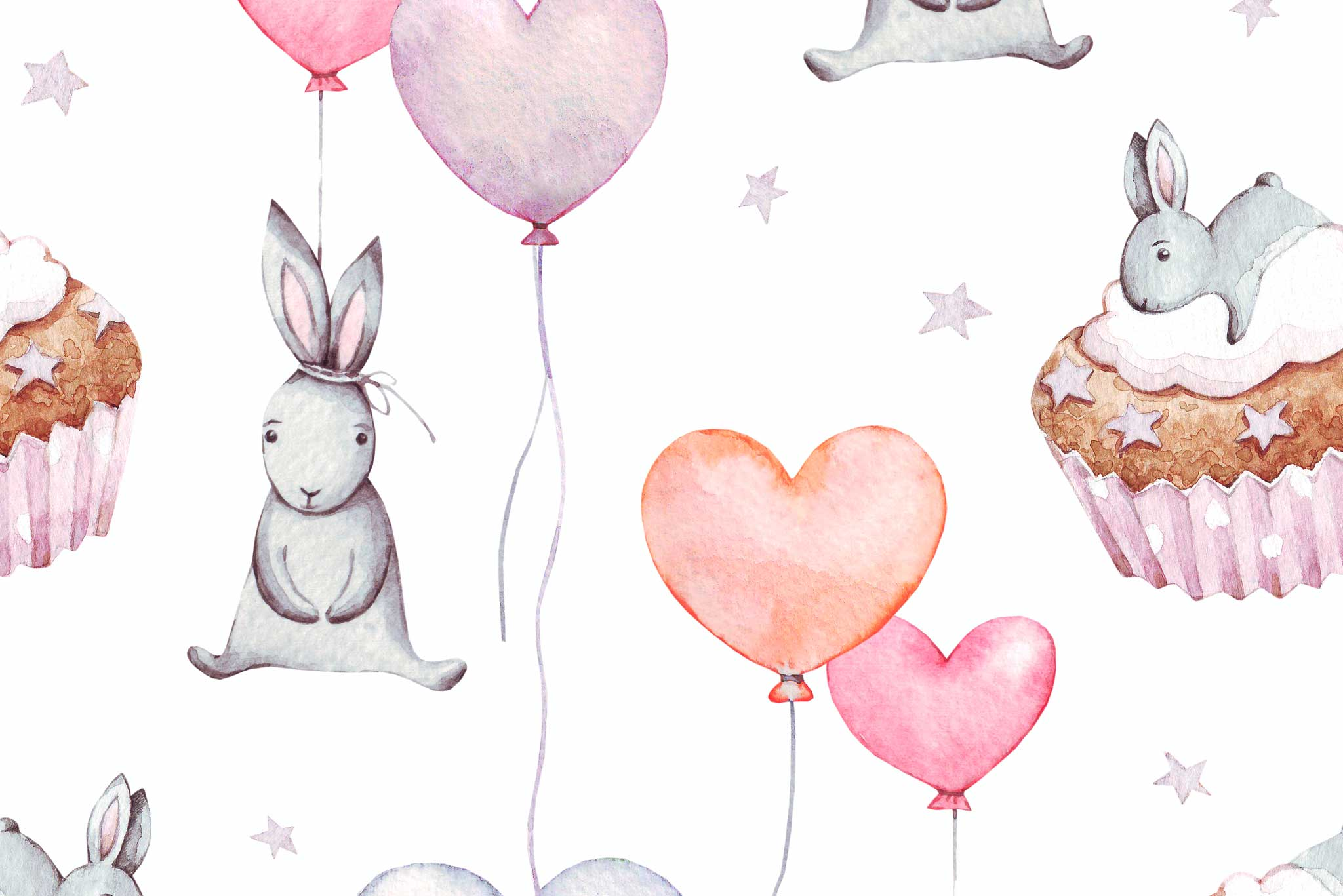 tapet-fototapet-design-decor-mural-customizabil-comanda-personalizat-bucuresti-daring-prints-motiv-model-copii-iepurasi-prajituri-roz-baloane-inimioare