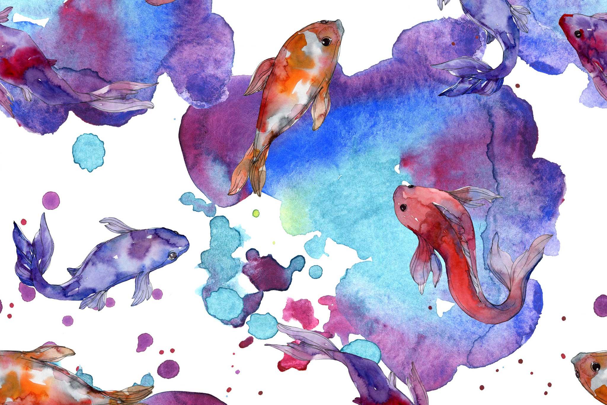 tapet-fototapet-design-decor-mural-customizabil-comanda-personalizat-bucuresti-daring-prints-motiv-model-pesti-koi-desen-acuarela-oranj-mov-albastru-fundal-alb