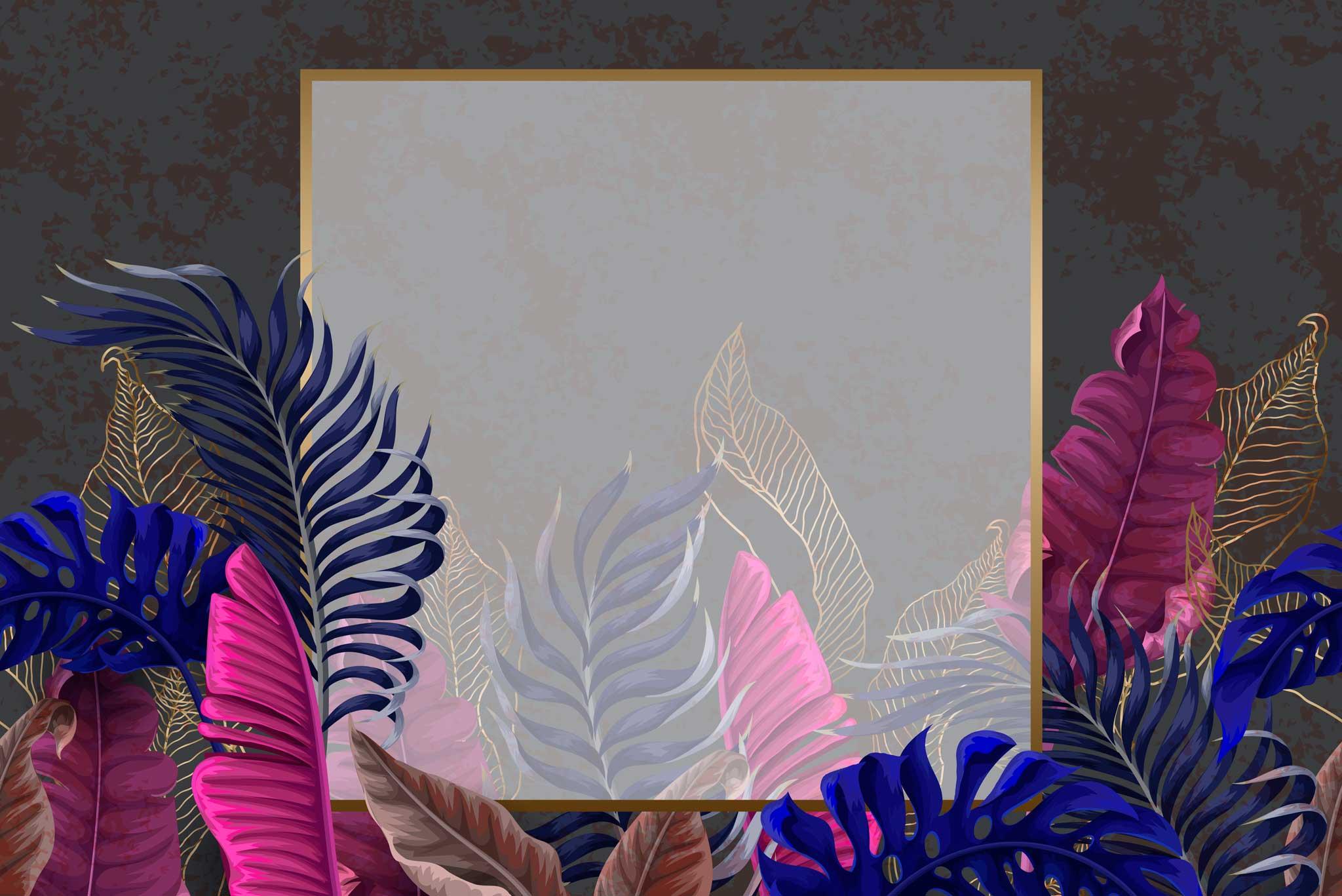 tapet-fototapet-design-decor-mural-customizabil-comanda-personalizat-bucuresti-daring-prints-motiv-model-vegetal-frunze-exotice-tropicale-colorat-multicolor