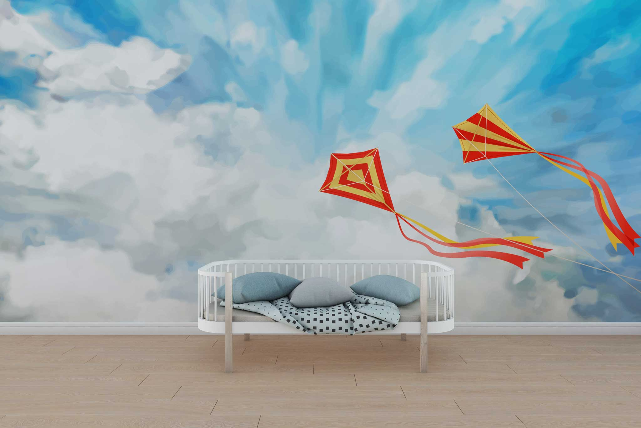 tapet-fototapet-design-personalizat-customizabil-comanda-special-camera-dormitor-copii-model-cer-senin-zmeie-rosu-galben-nori-albi-desen-pictura