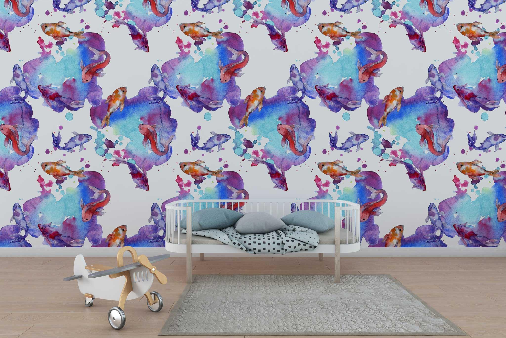 tapet-fototapet-design-personalizat-customizabil-comanda-special-camera-dormitor-copii-model-desen-acuarela-pesti-rosu-mov-albastru-fundal-alb