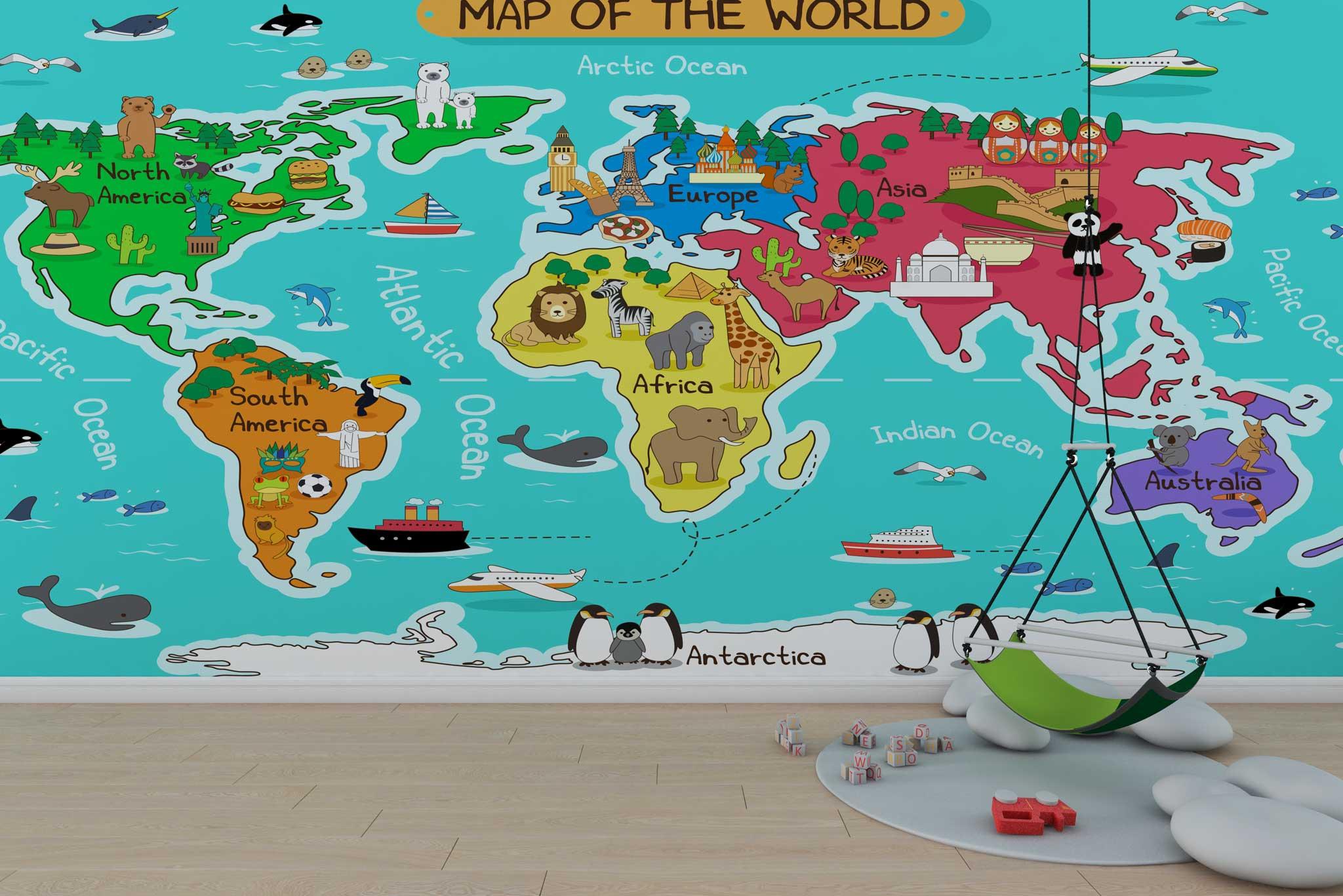 tapet-fototapet-design-personalizat-customizabil-comanda-special-camera-dormitor-copii-model-desen-harta-lumii-explorator-multicolor