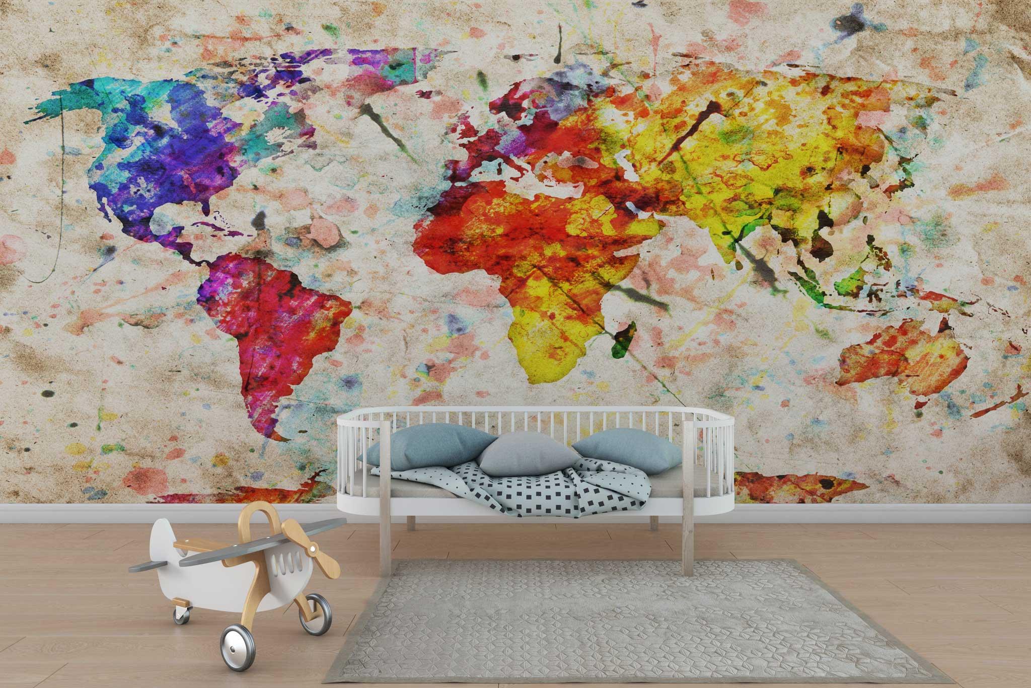 tapet-fototapet-design-personalizat-customizabil-comanda-special-camera-dormitor-copii-model-desen-pictata-harta-lumii-multicolor