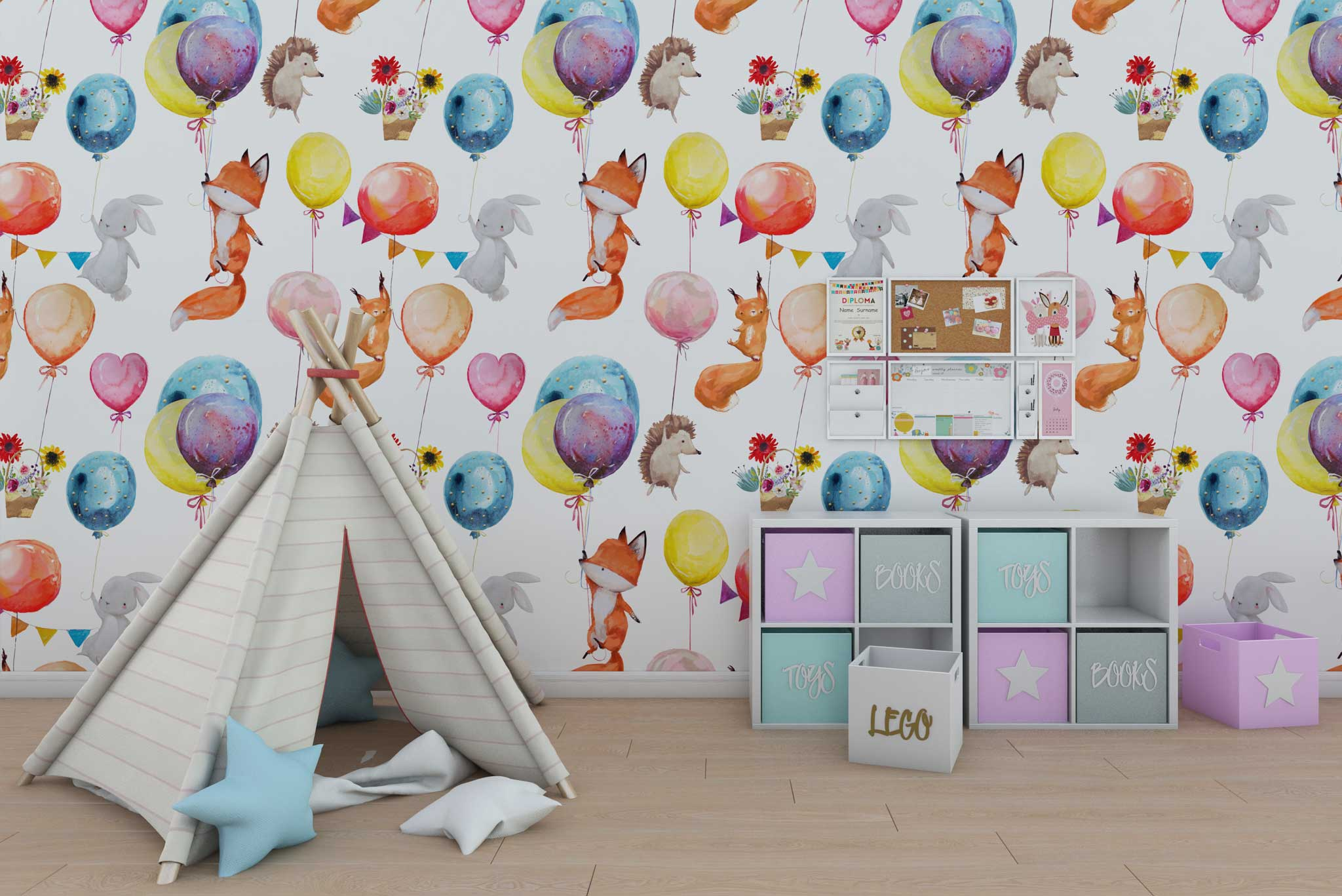 tapet-fototapet-design-personalizat-customizabil-comanda-special-camera-dormitor-copii-model-desen-vulpite-iepurasi-baloane-multicolor-fundal-alb