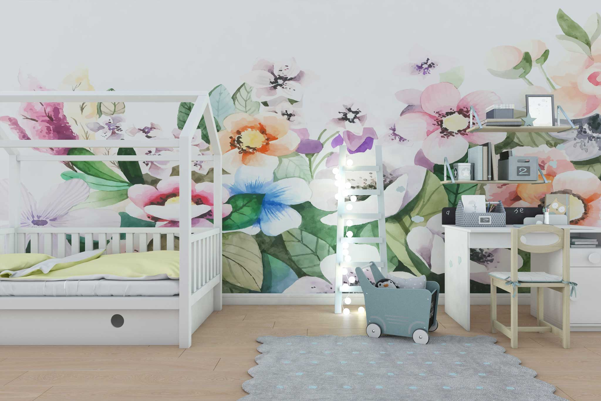 tapet-fototapet-design-personalizat-customizabil-comanda-special-camera-dormitor-copii-model-motiv-floral-flori-pictate-acuarela-fundal-alb-multicolor-pastel