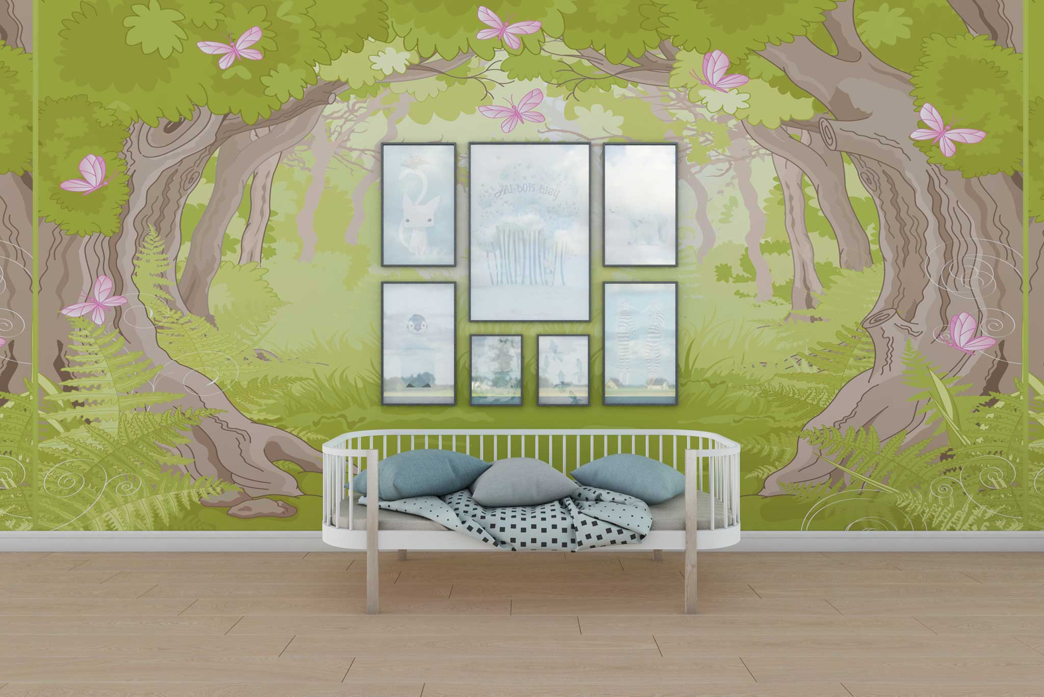 tapet-fototapet-design-personalizat-customizabil-comanda-special-camera-dormitor-copii-model-padurea-fermecata-poiana-fluturi-verde-roz