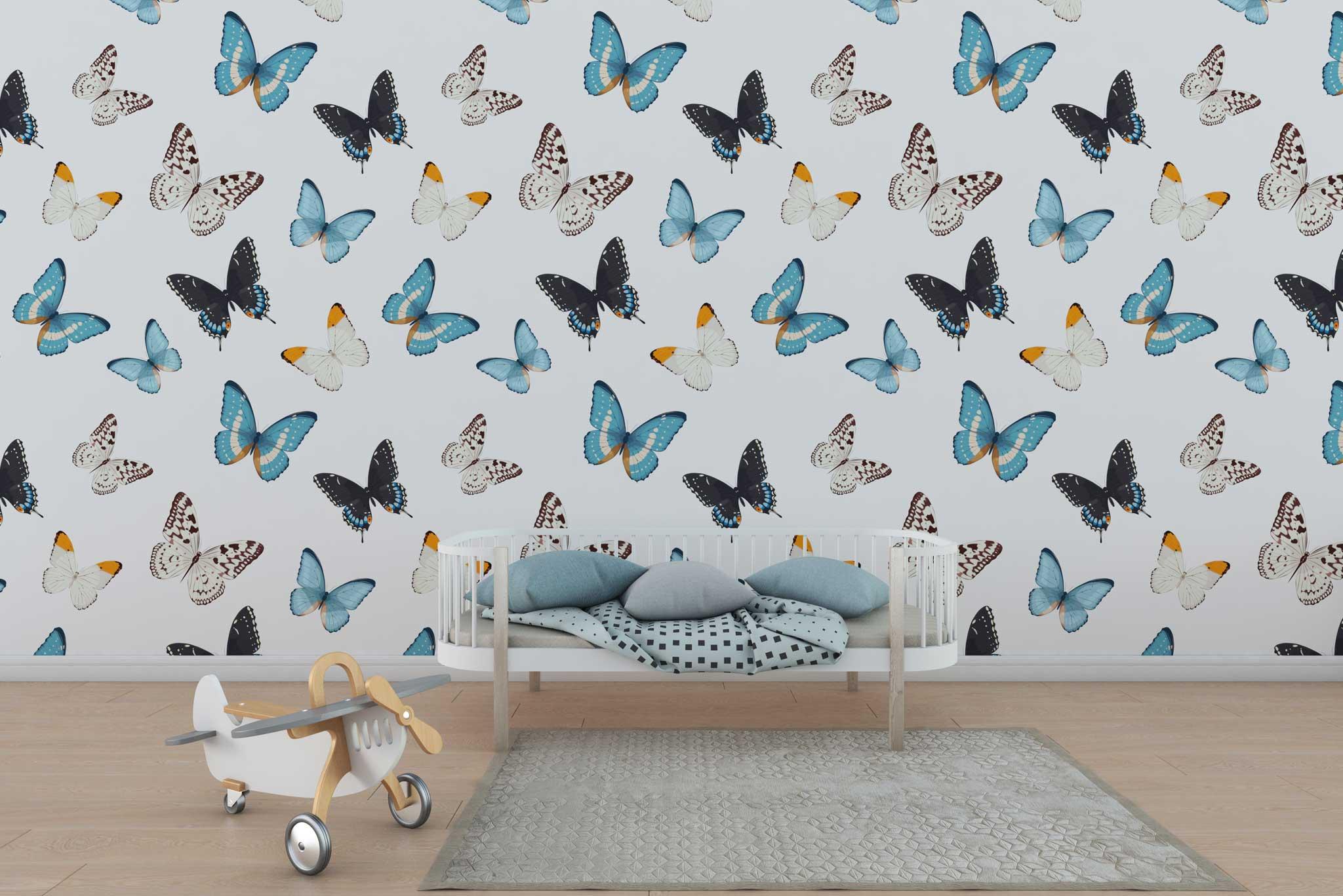 tapet-fototapet-design-personalizat-customizabil-comanda-special-camera-dormitor-copii-model-repetitiv-fluturi-albastri-fundal-alb