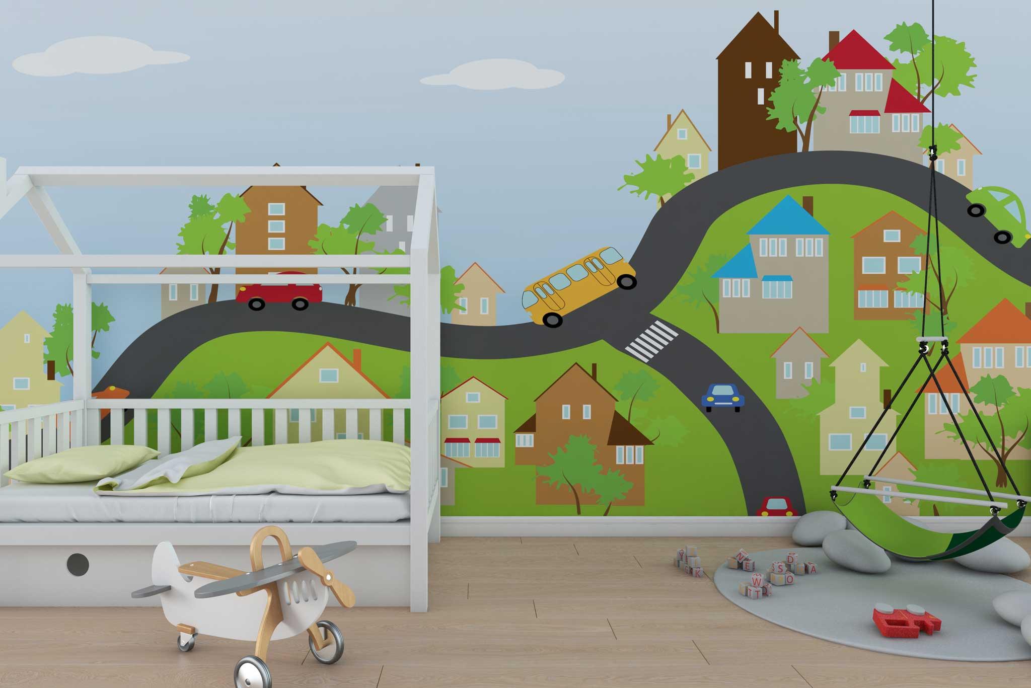tapet-fototapet-design-personalizat-customizabil-comanda-special-camera-dormitor-copii-oras-orasel-cer-colorat-multicolor