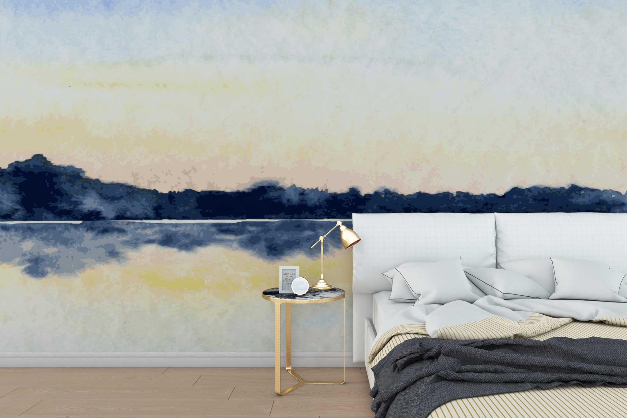 tapet-fototapet-special-personalizat-customizabil-comanda-bucuresti-daring-prints-model-desen-ilustratie-acuarela-peisaj-munte-apa-lac-bleumarin-pastel