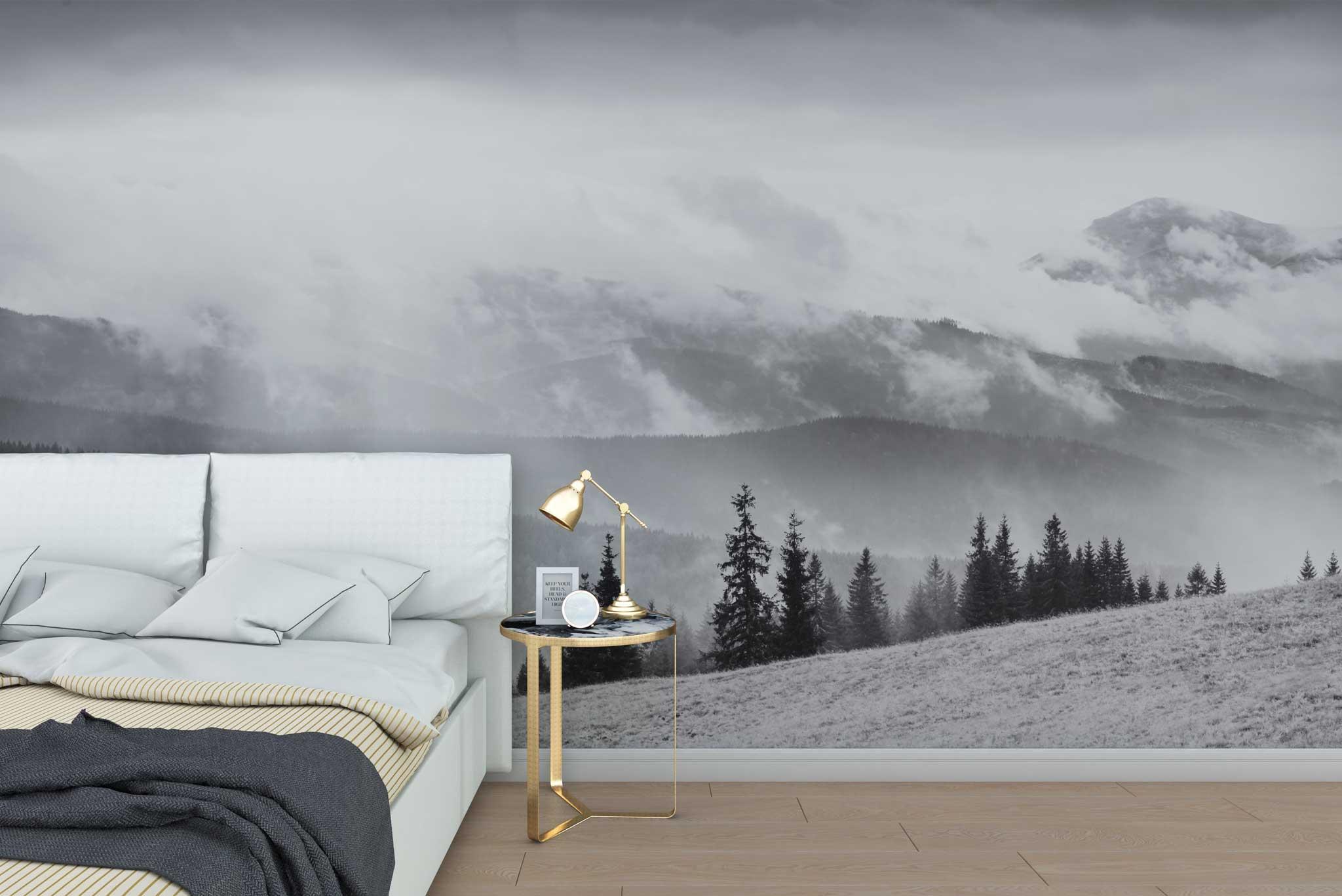 tapet-fototapet-special-personalizat-customizabil-comanda-bucuresti-daring-prints-model-fotografie-alb-negru-peisaj-munti-brazi-ceata