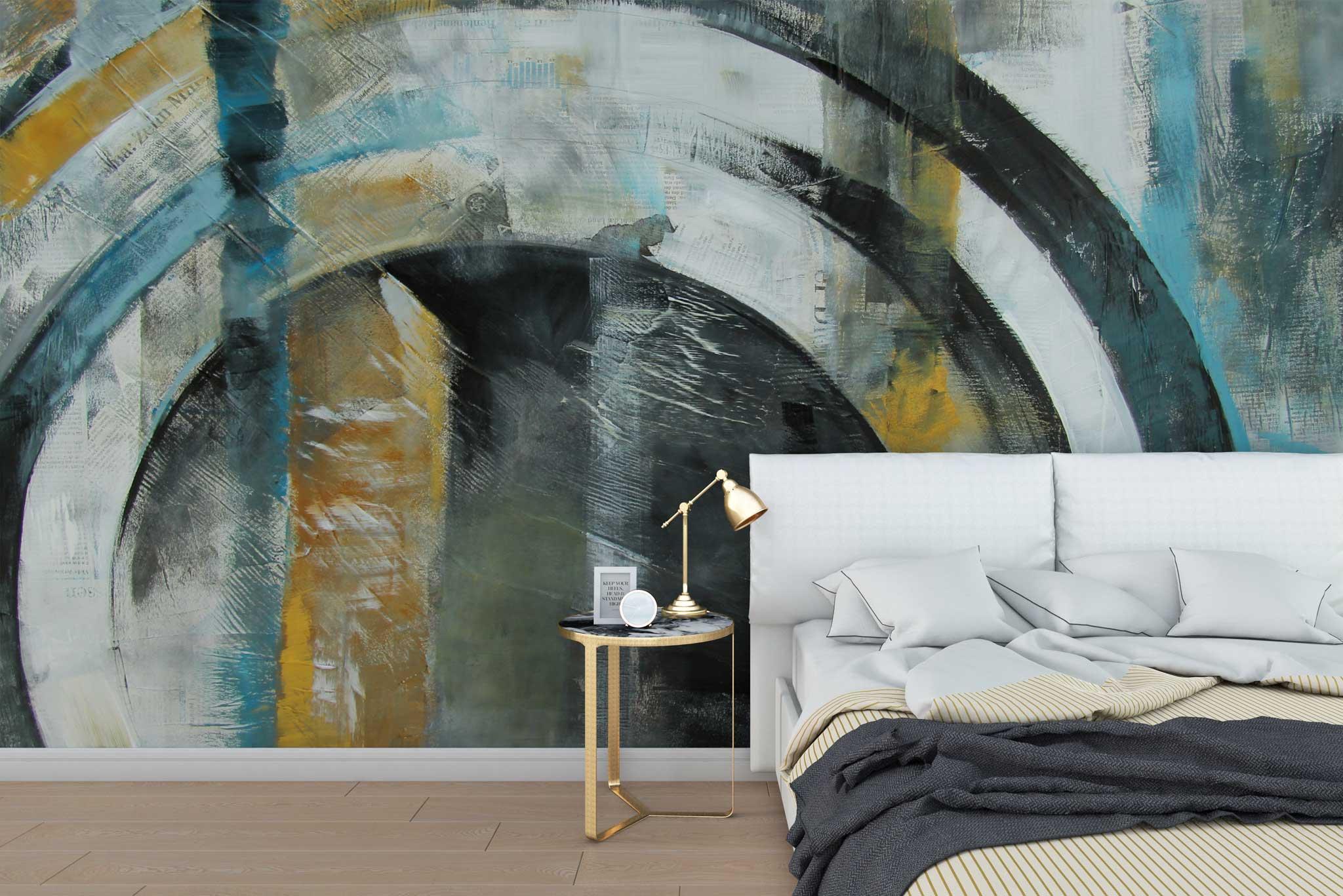 tapet-fototapet-special-personalizat-customizabil-comanda-bucuresti-daring-prints-model-pictura-contemporana-abstracta-industrial-grunge-cercuri-albastru-galben