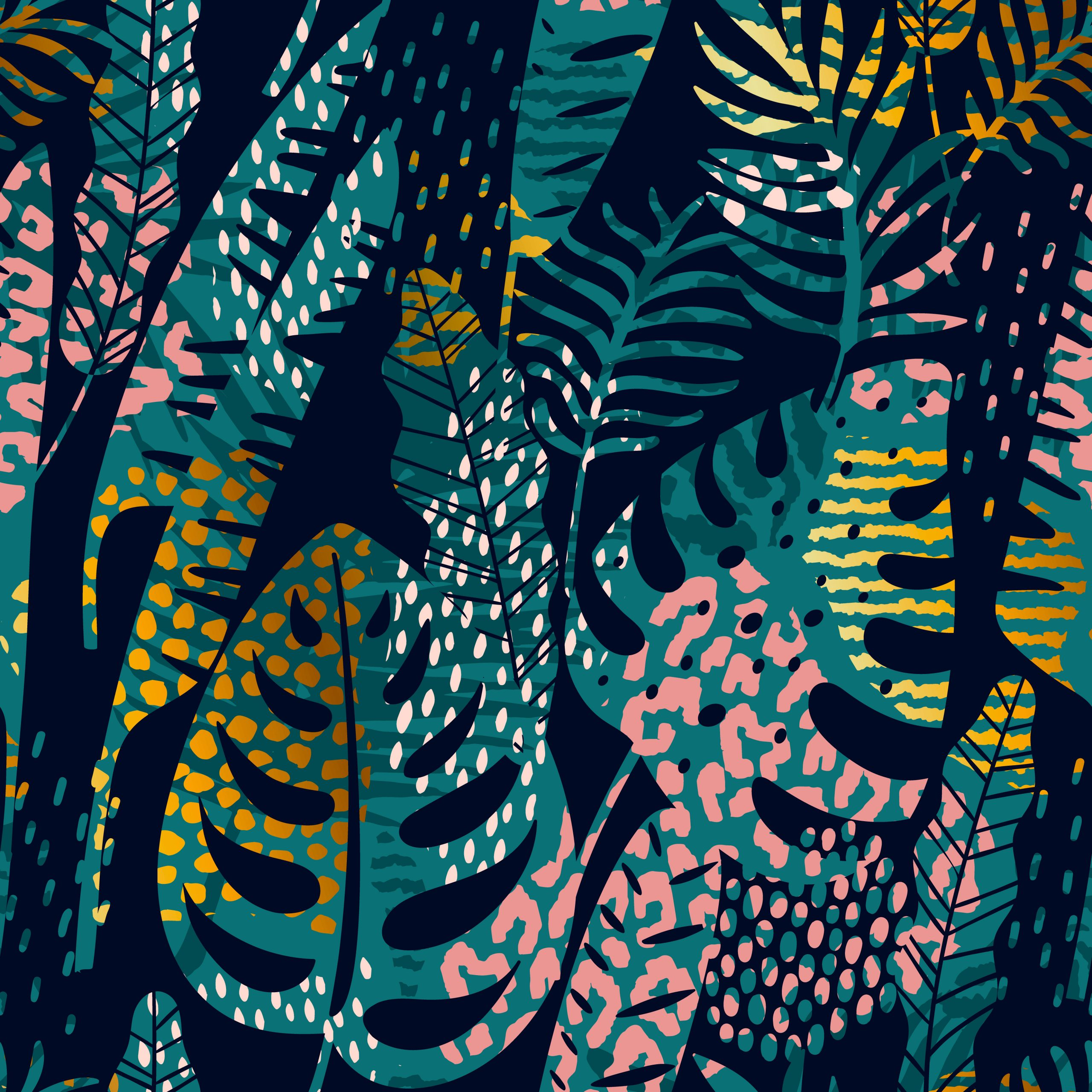 Trendy seamless exotic pattern with tropical plants, animal prints and hand drawn textures. Vector illustration. Modern abstract design for paper, wallpaper, cover, fabric, Interior decor.