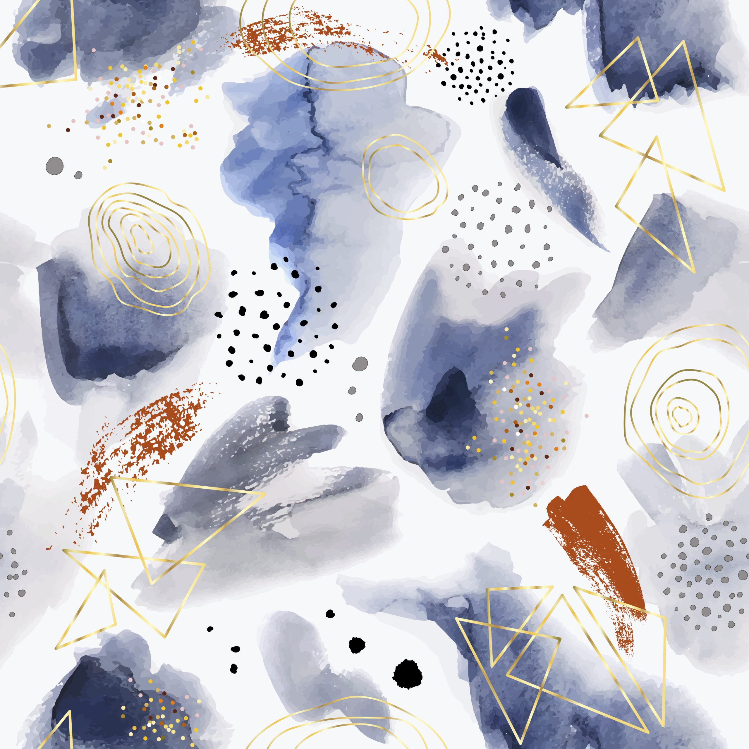 Pastel abstract painted vector pattern. Watercolor blue wet brush hand drawn paper texture background.