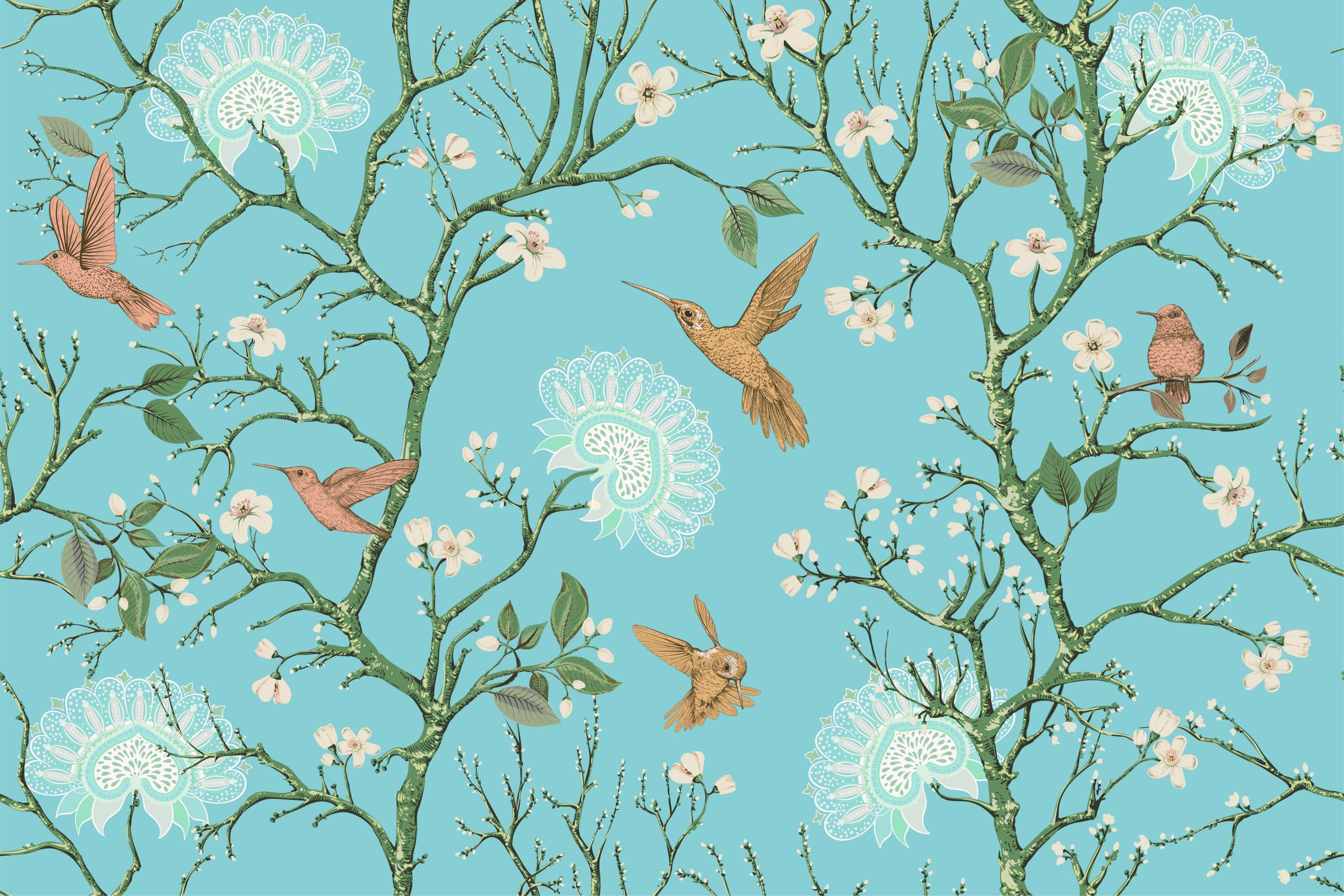 Vector colorful pattern with birds and flowers. Hummingbirds and flowers, retro style, floral backdrop. Spring, summer flower design for wrapping paper, cover, textile, fabric, wallpaper, web