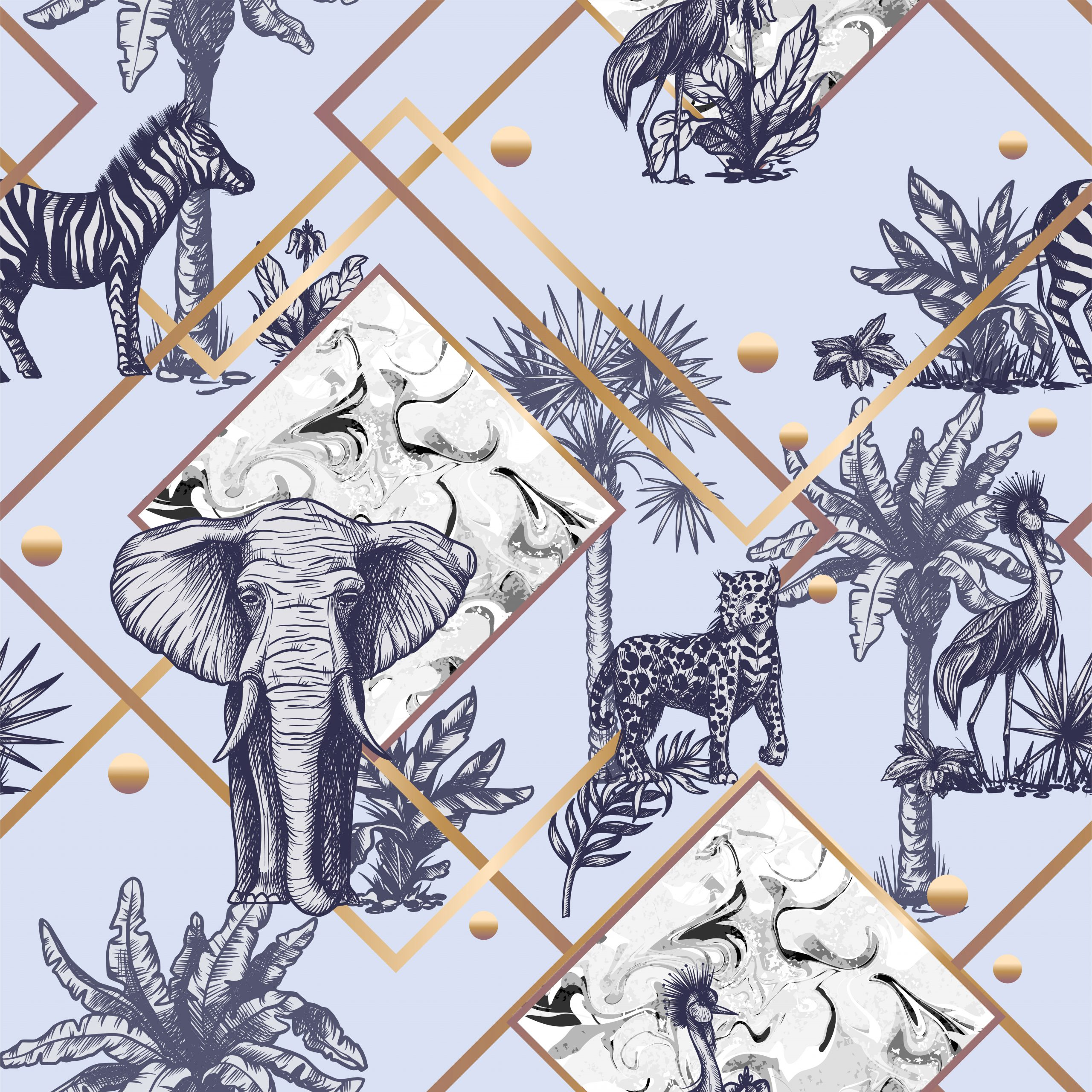 Seamless pattern with graphic tropical treees and jungle animals.