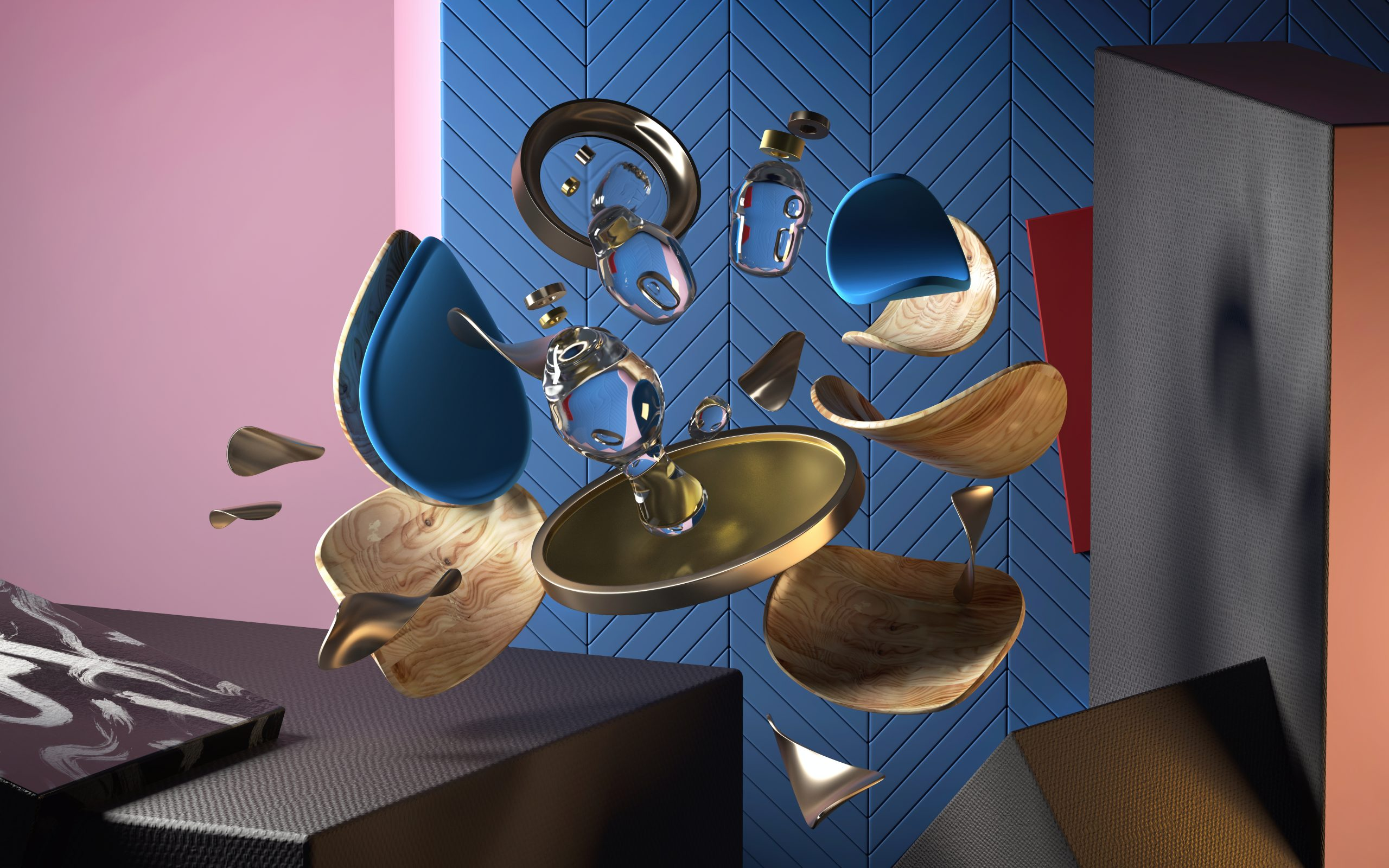 3d rendering of abstract composition with geometric shapes and forms. Concept of modern interior or industrial design trends. Different material shaders: wood, gold, glass, chrome.