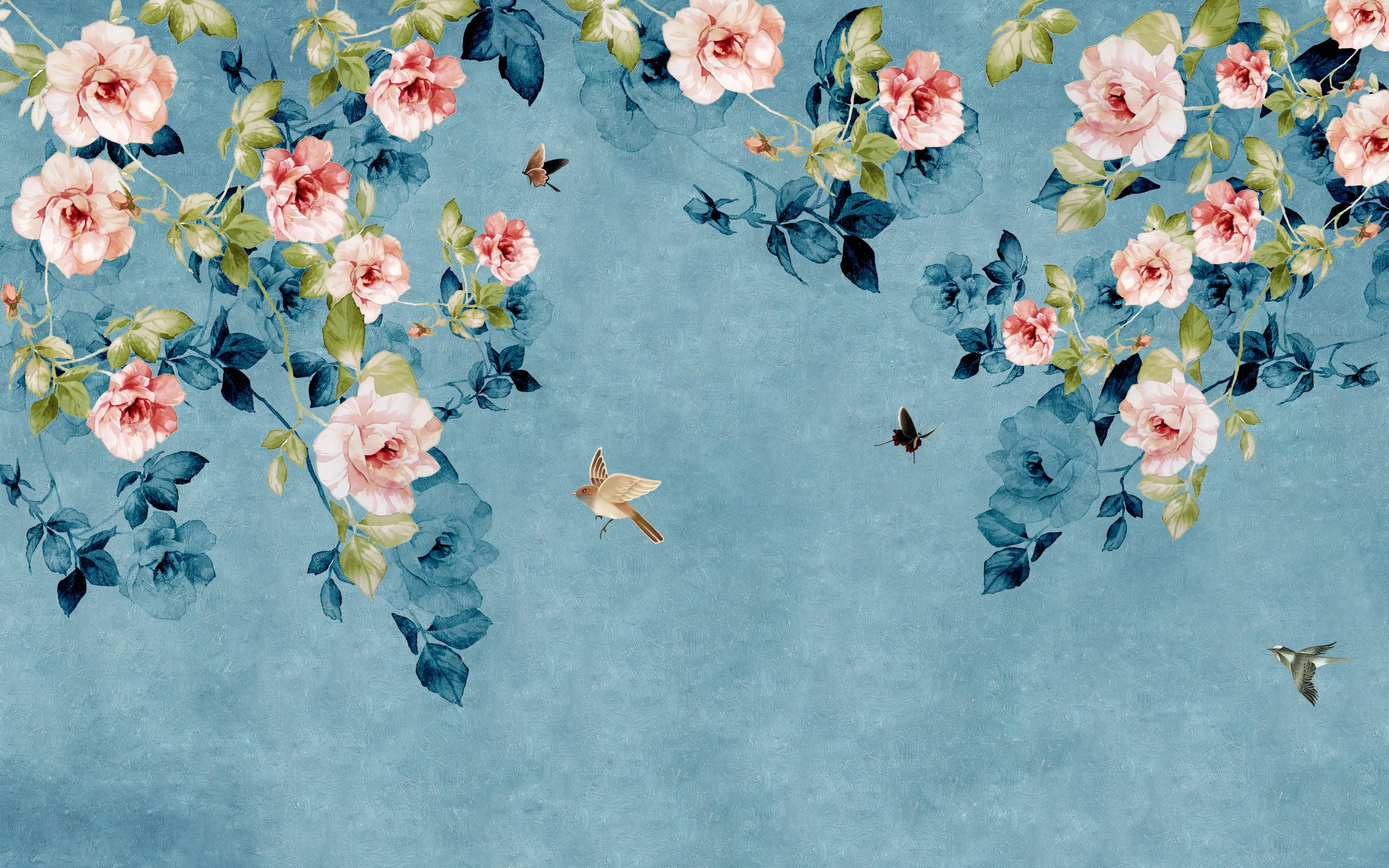 Drawn pink roses on blue-green textured background, flying birds and butterflies