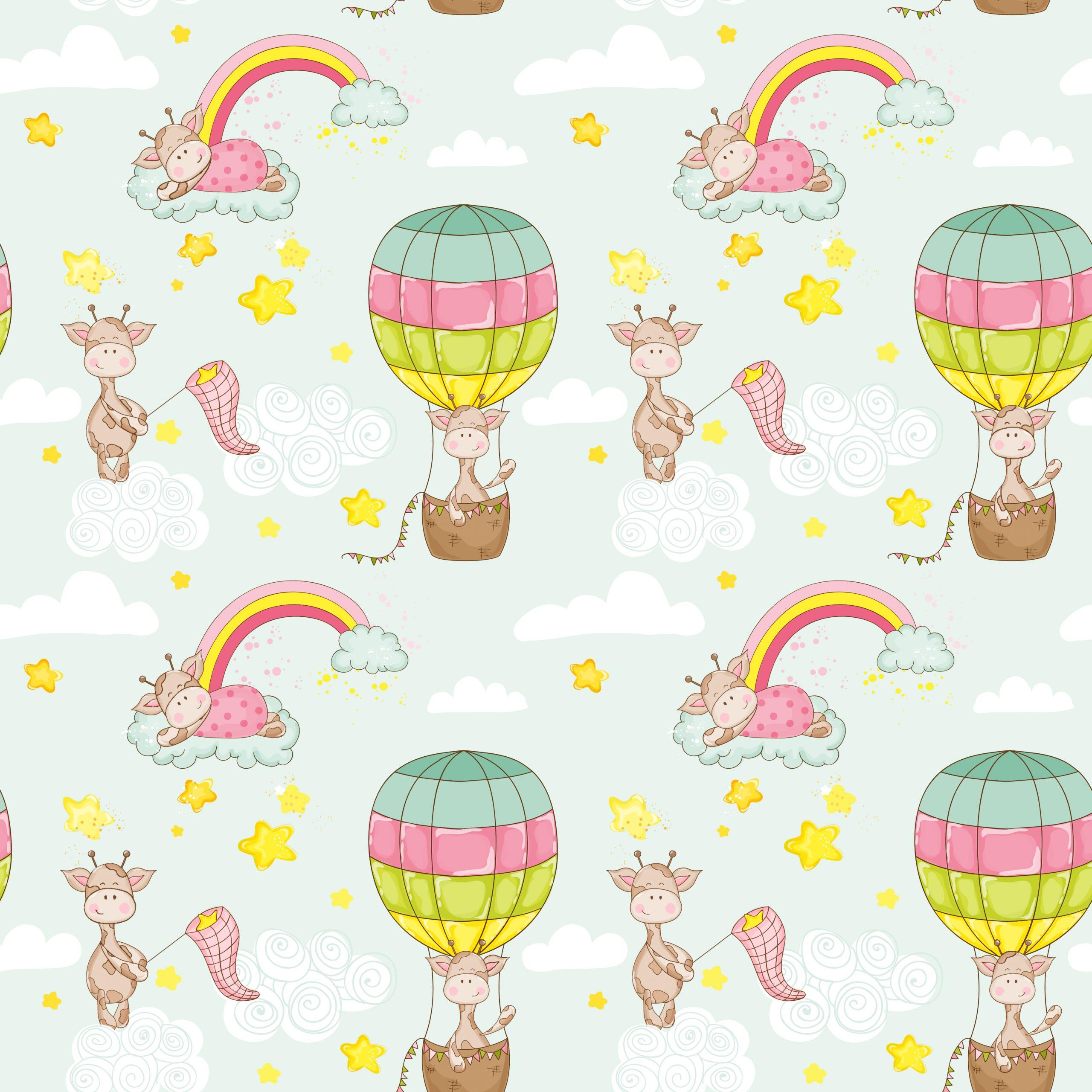 Baby Giraffe Background. Seamless Pattern. Vector Background.