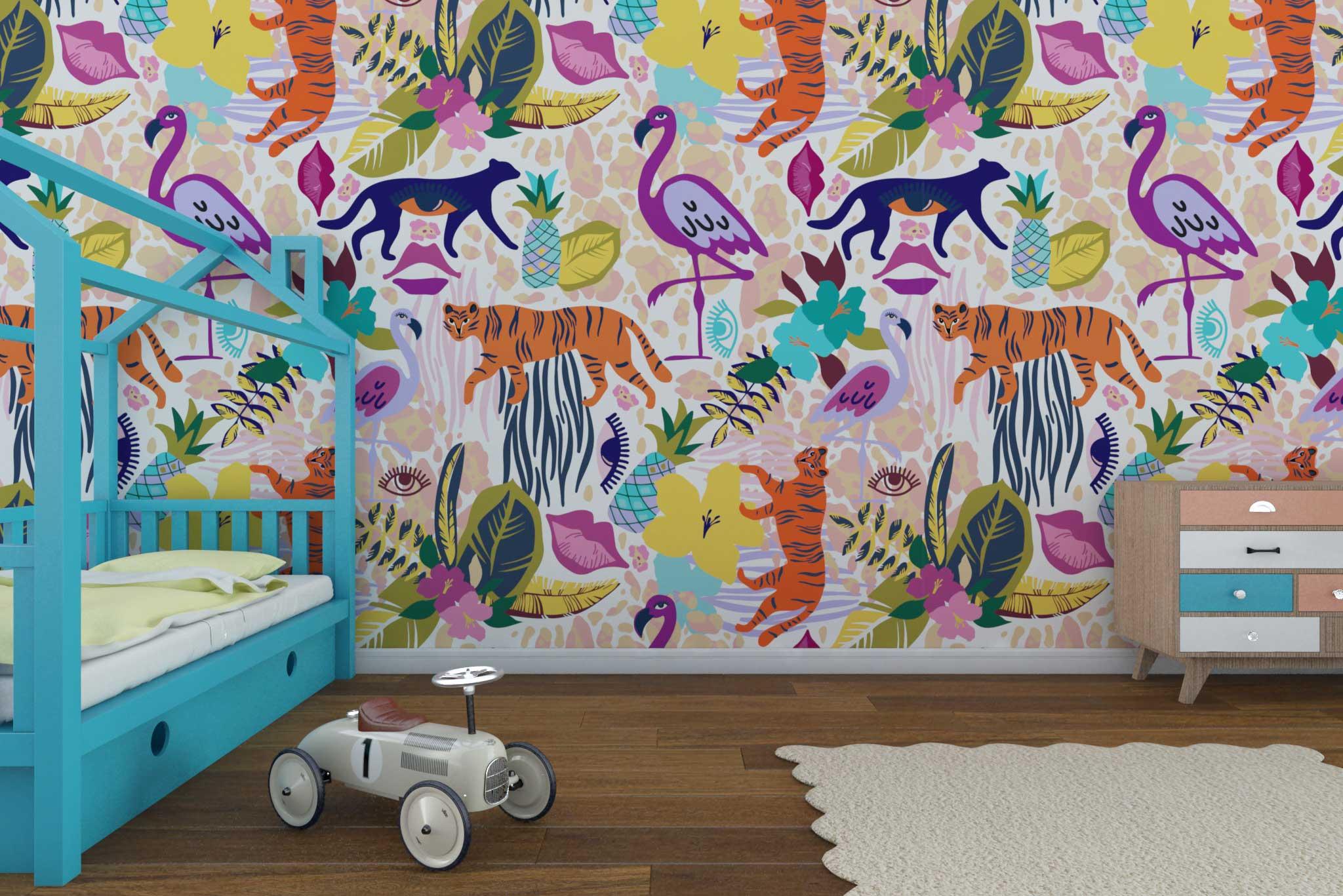 tapet-fototapet-comanda-personalizat-bucuresti-camera-dormitor-copii-model-animale-flori-jungla-multicolor