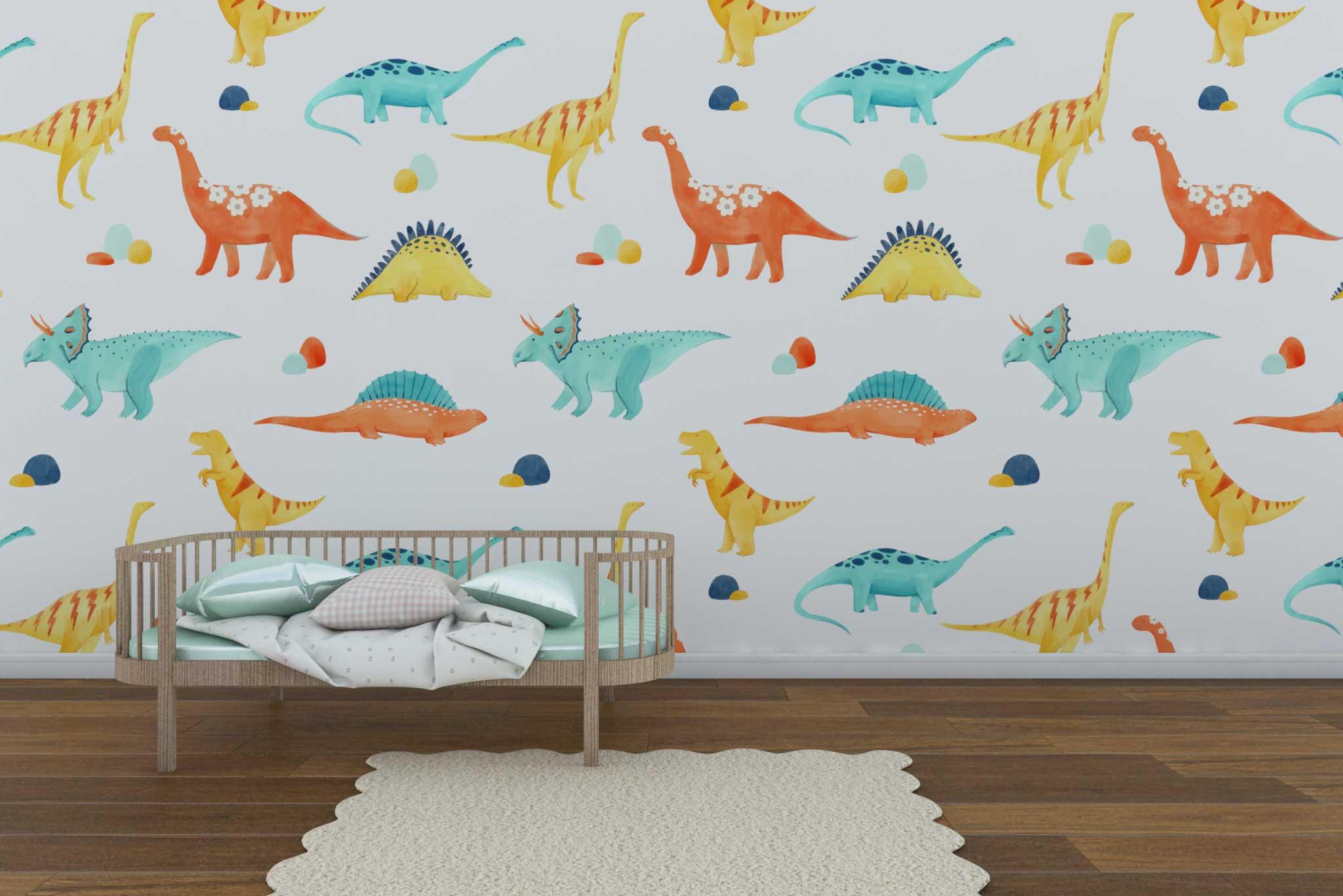 tapet-fototapet-comanda-personalizat-bucuresti-camera-dormitor-copii-model-desen-dinozauri-acuarela-multicolor