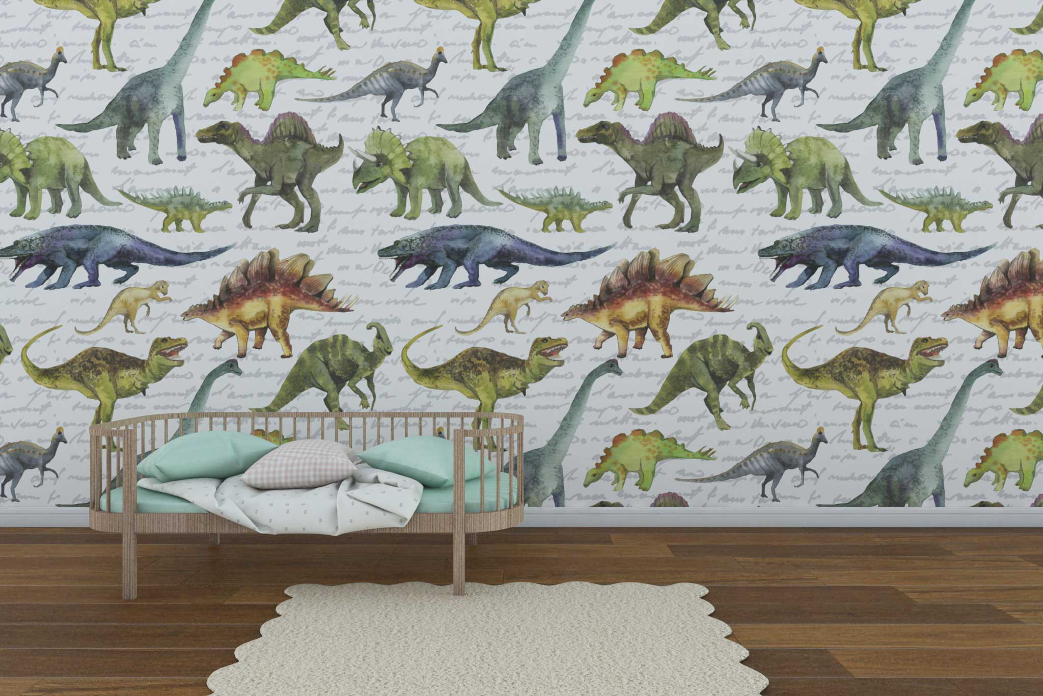 tapet-fototapet-comanda-personalizat-bucuresti-camera-dormitor-copii-model-desen-dinozauri-acuarela