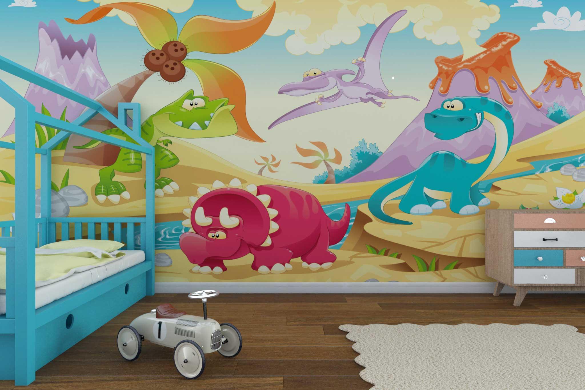 tapet-fototapet-comanda-personalizat-bucuresti-camera-dormitor-copii-model-desen-dinozauri-multicolor
