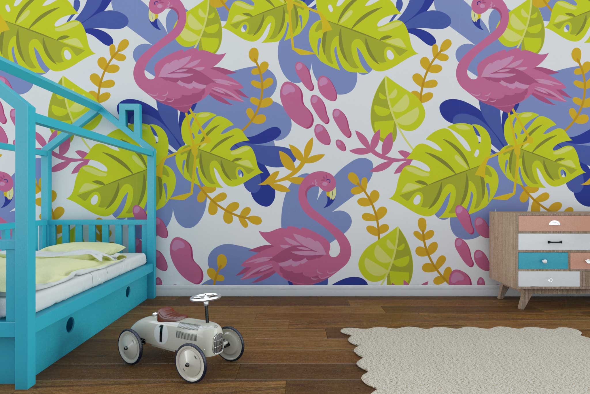 tapet-fototapet-comanda-personalizat-bucuresti-camera-dormitor-copii-model-flamingo-frunze-rmulticolor