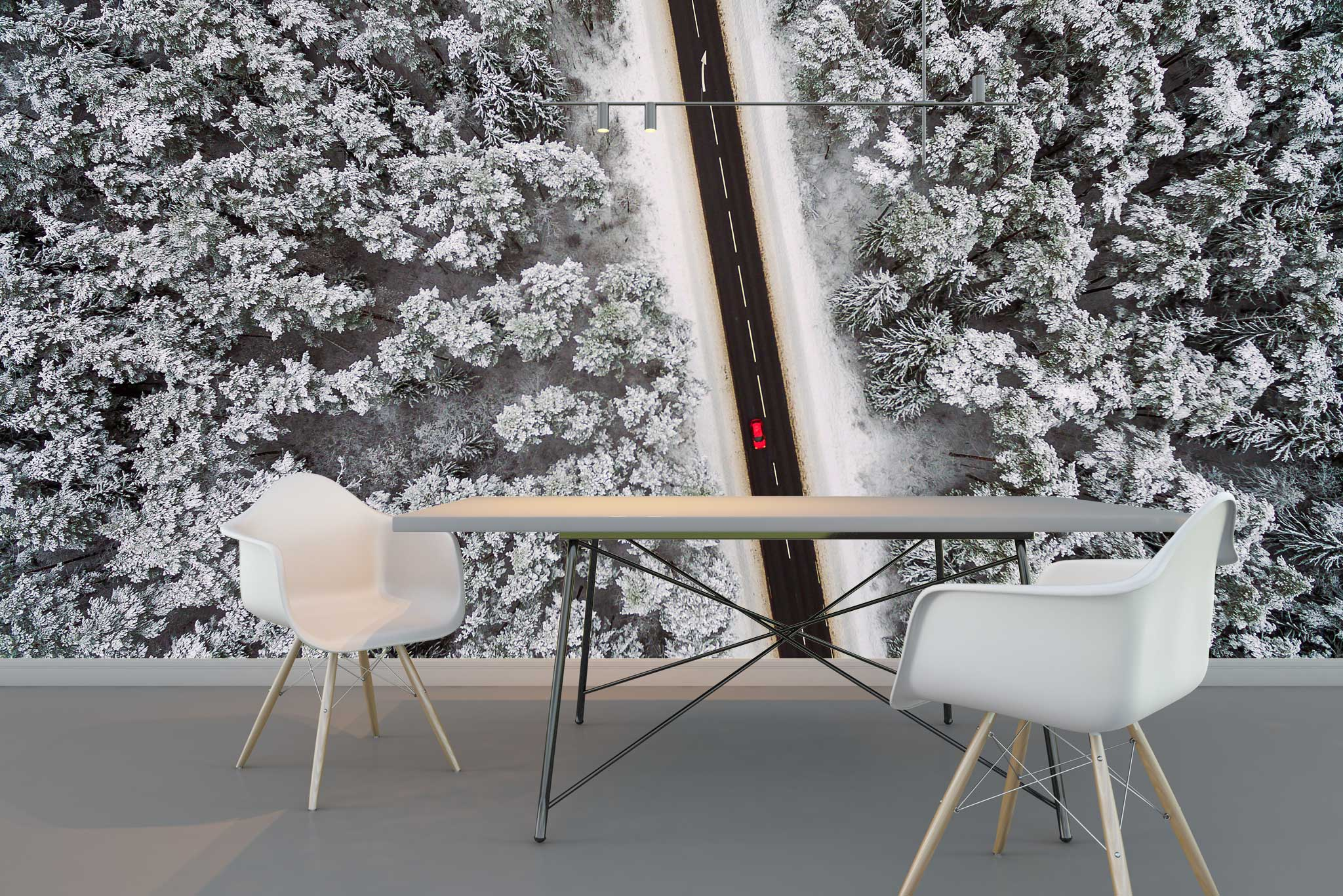 tapet-fototapet-comanda-personalizat-bucuresti-perete-special-lux-model-fotografie-aeriana-sosea-padure-iarna