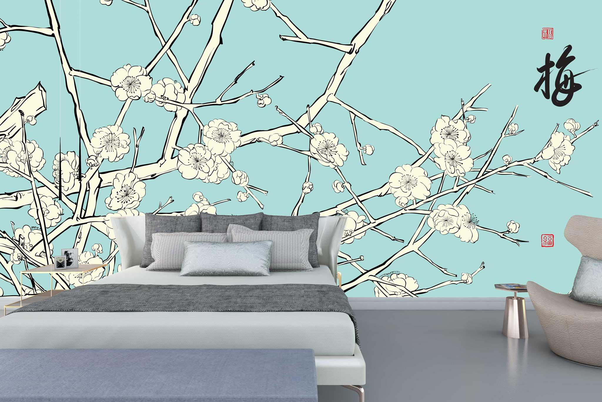 tapet-fototapet-comanda-personalizat-bucuresti-perete-special-lux-model-pictura-desen-stil-asiatic-crengi-flori-cires-alb-bleu