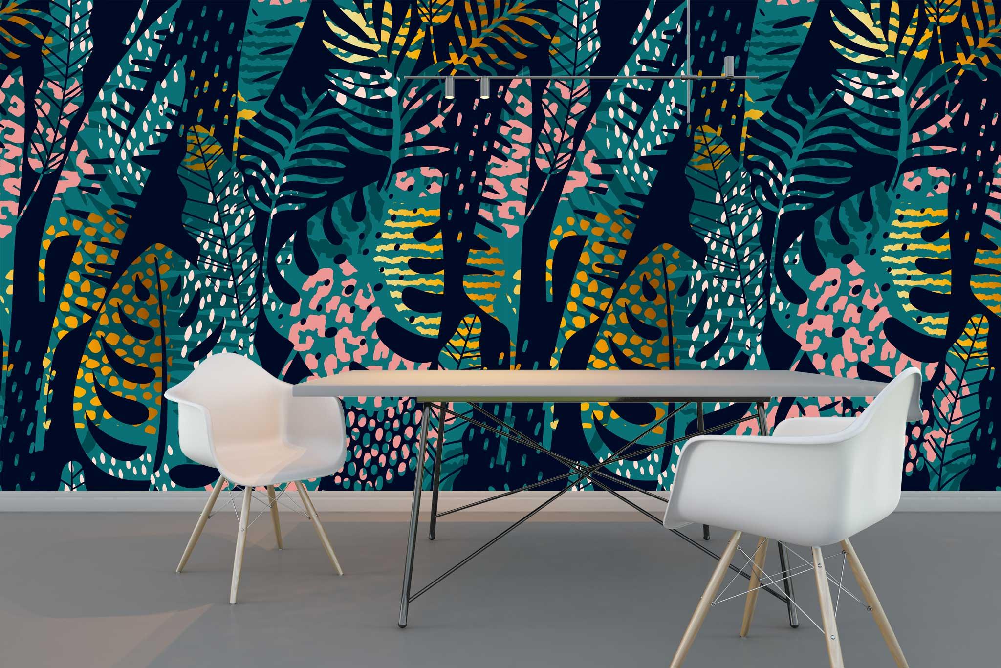 tapet-fototapet-comanda-personalizat-bucuresti-perete-special-lux-model-vegetal-frunze-flori-exotice-tropical-negru