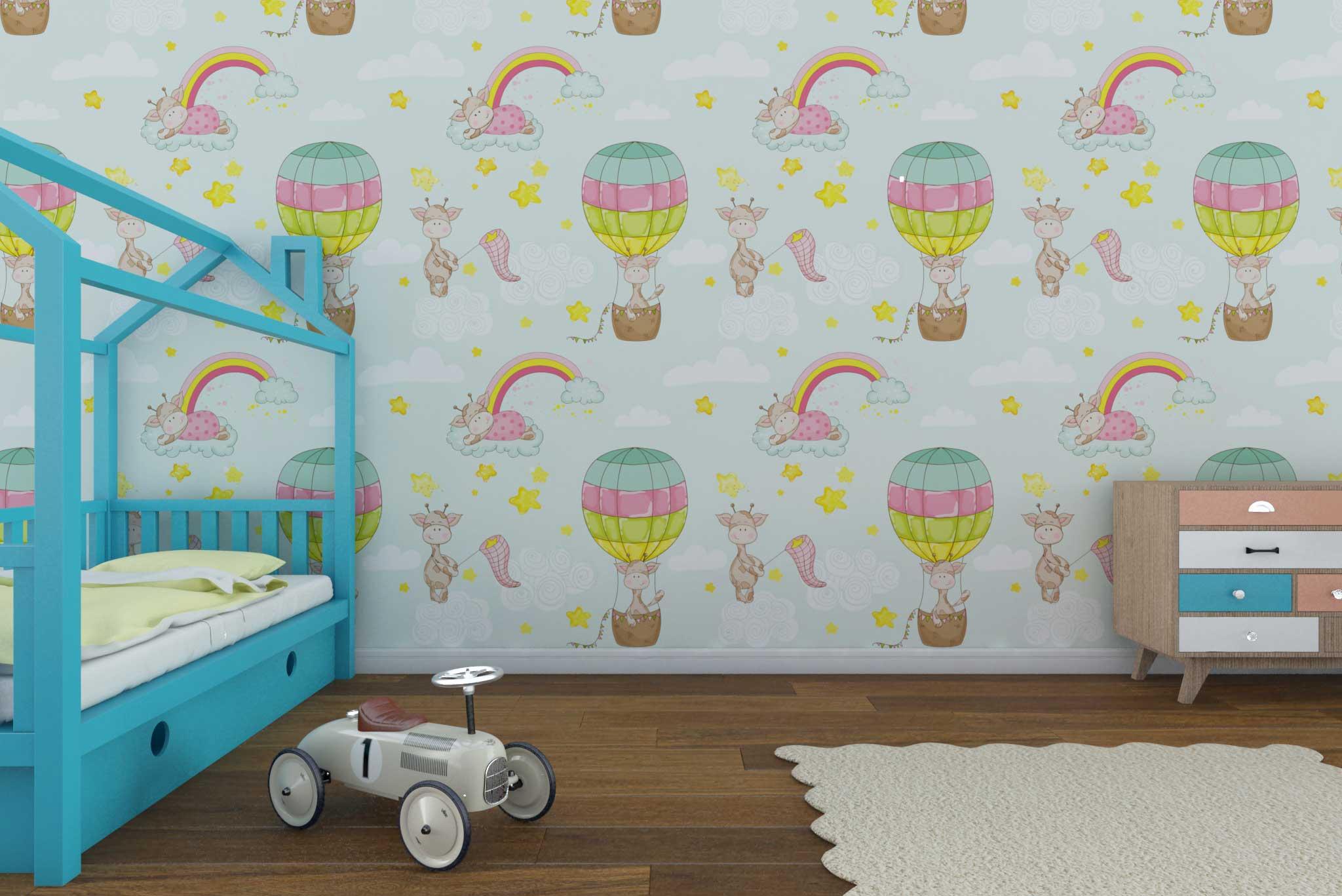 tapet-fototapet-custom-comanda-personalizat-bucuresti-camera-copii-model-baloane-aer-cald-multicolor-girafe