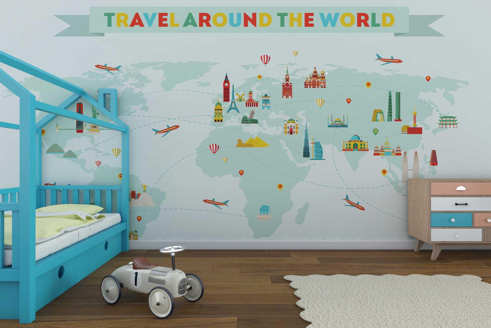 tapet-fototapet-custom-comanda-personalizat-bucuresti-camera-copii-model-harta-lumii-monumente-travel-the-world