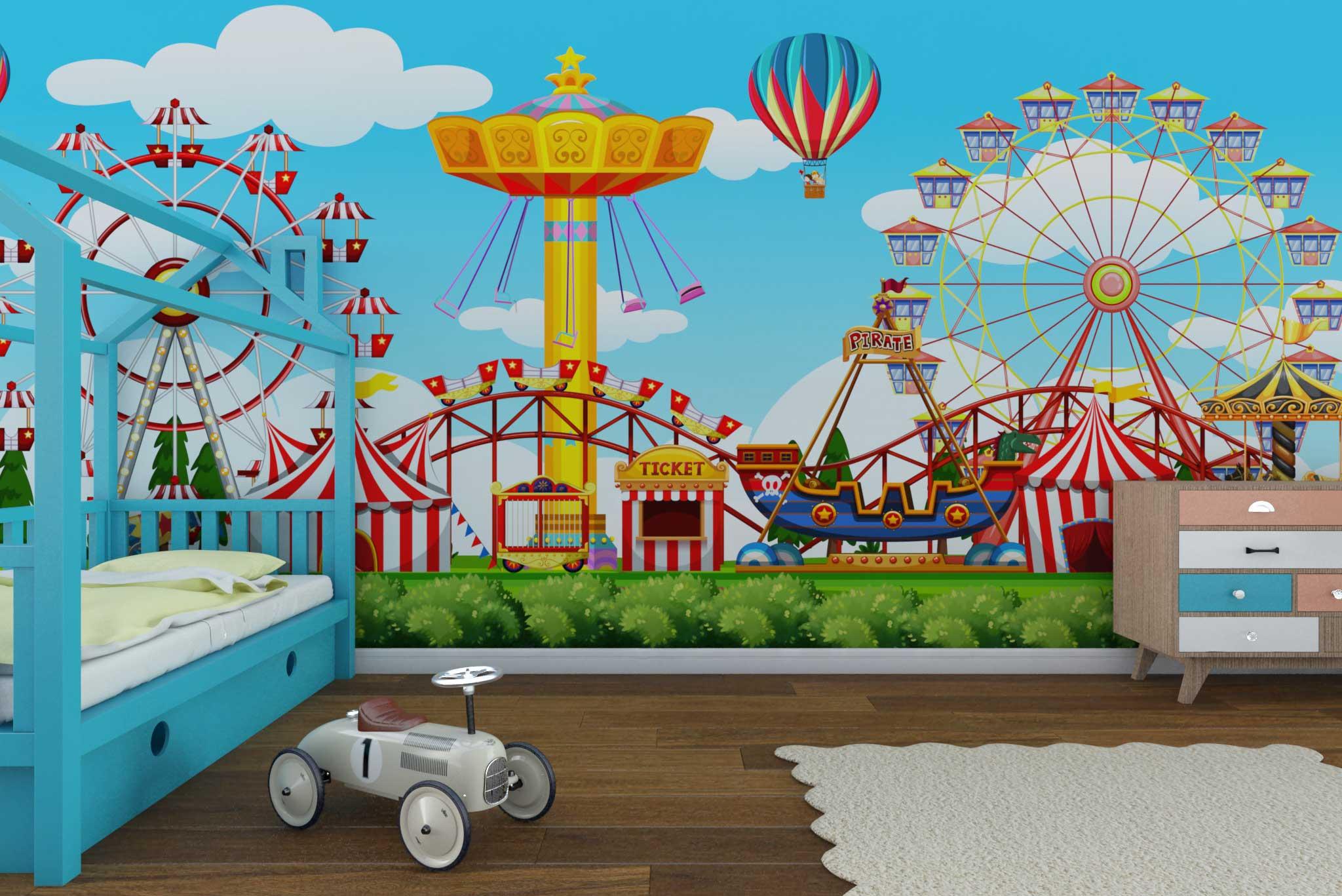 tapet-fototapet-custom-comanda-personalizat-bucuresti-camera-copii-model-parc-de-distractii-multicolor