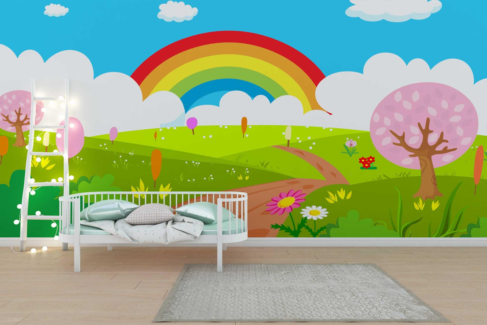tapet-fototapet-personalizat-comanda-bucuresti-camera-copii-model-curcubeu-multicolor-perete-lux-special