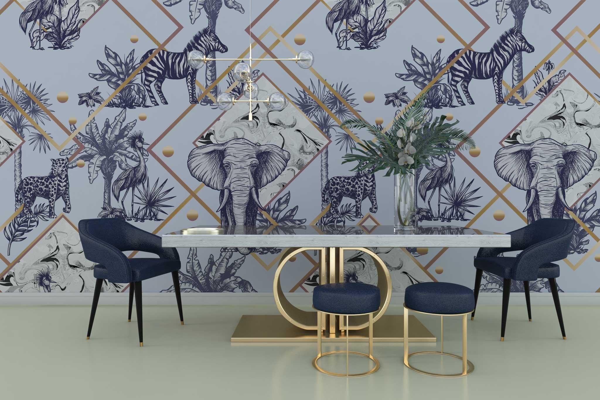 tapet-fototapet-personalizat-comanda-bucuresti-model-animale-jungla-exotic-bleu-albastru-auriu-perete-lux-special