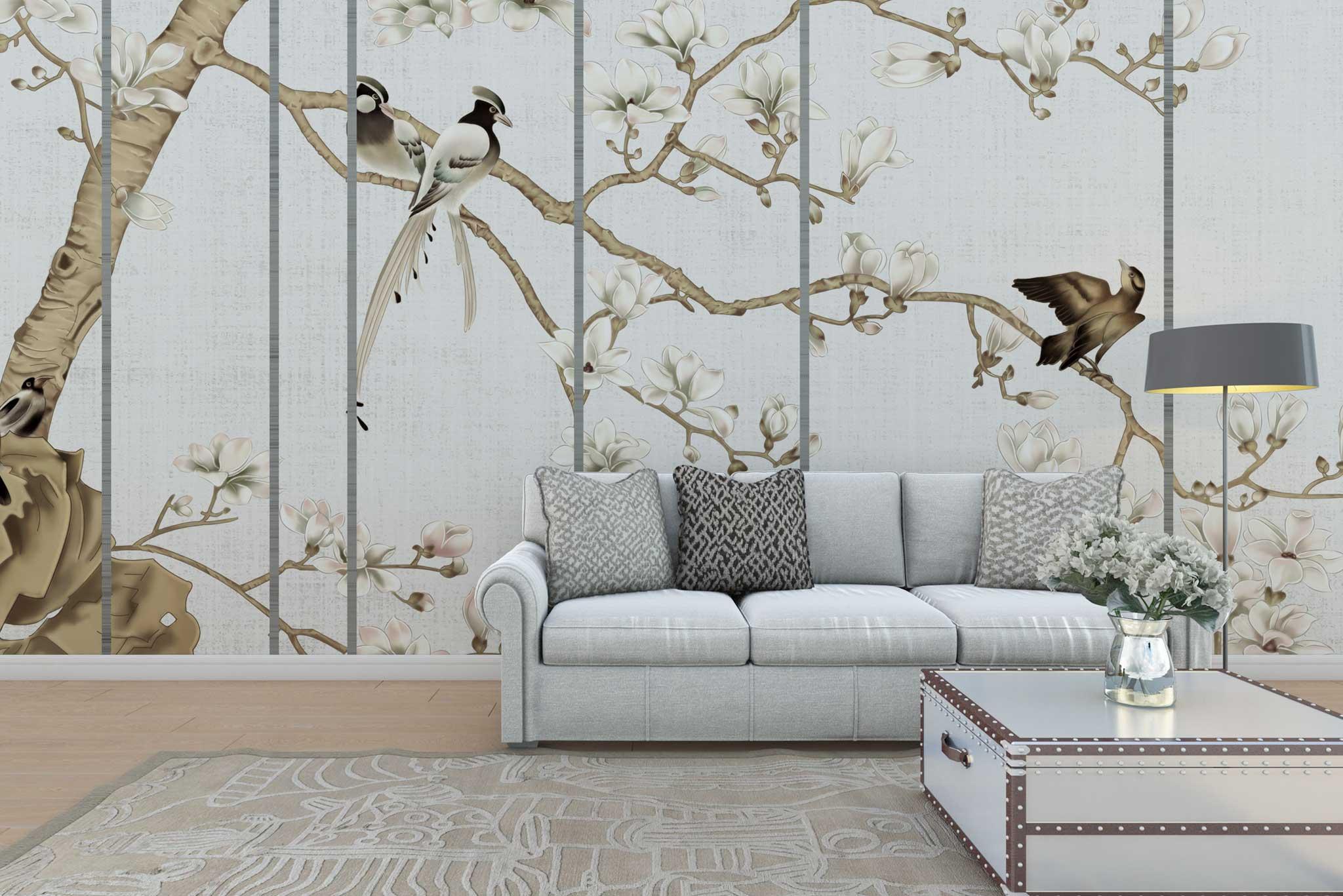 tapet-fototapet-personalizat-comanda-bucuresti-model-chinoiserie-pasari-magnolii-crem-perete-lux-special