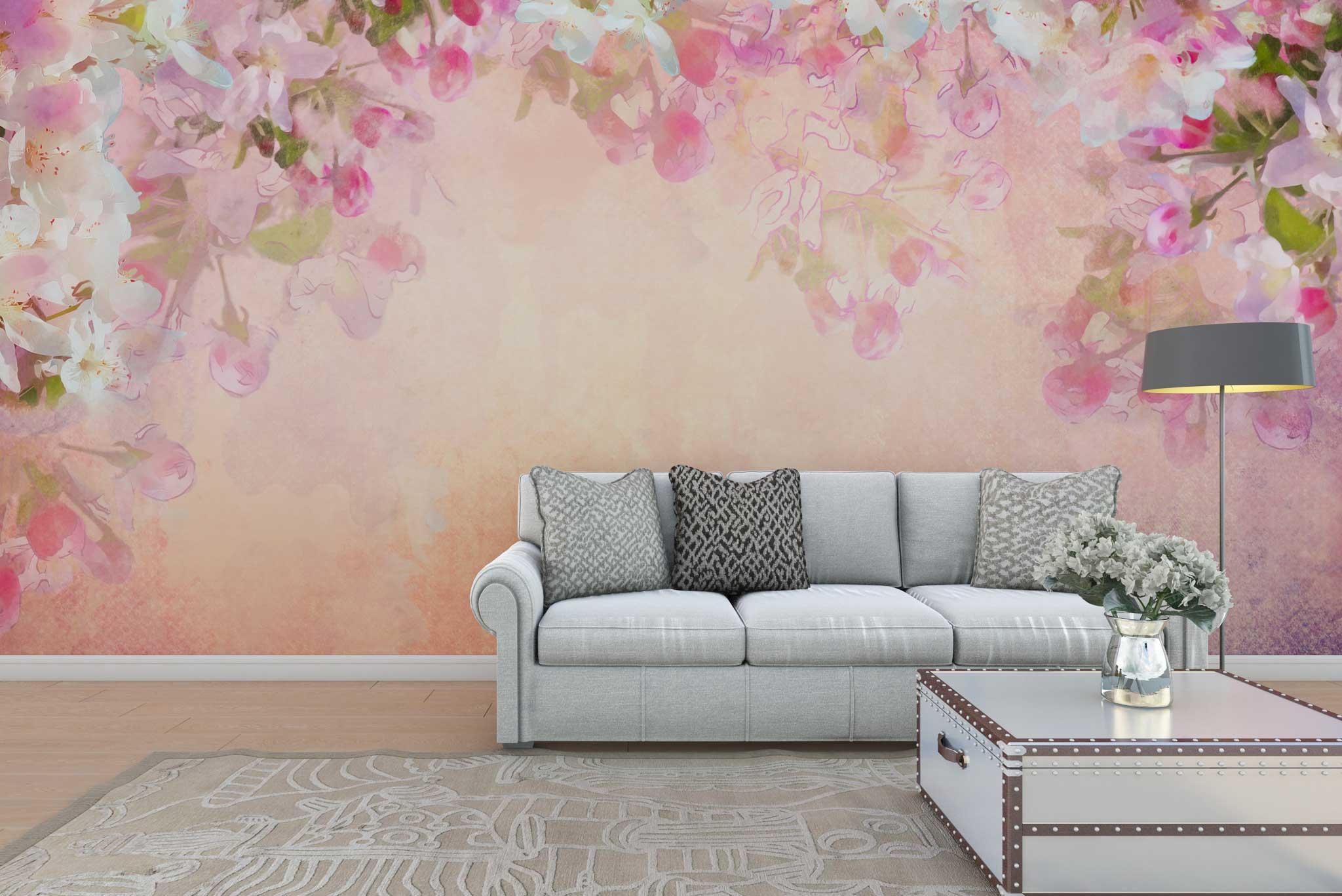 tapet-fototapet-personalizat-comanda-bucuresti-model-flori-liliac-roz-perete-lux-special