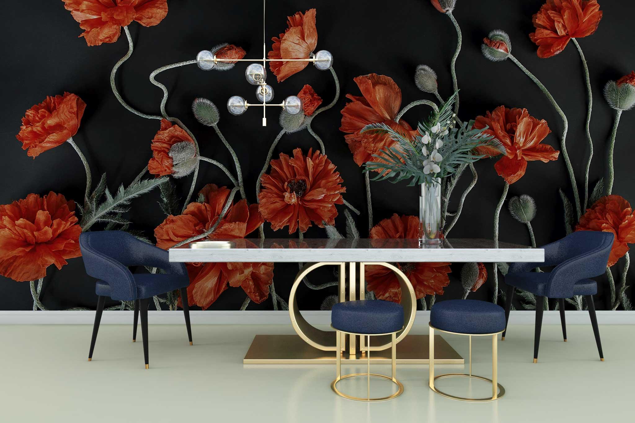 tapet-fototapet-personalizat-comanda-bucuresti-model-flori-maci-negru-rosu-perete-lux-special