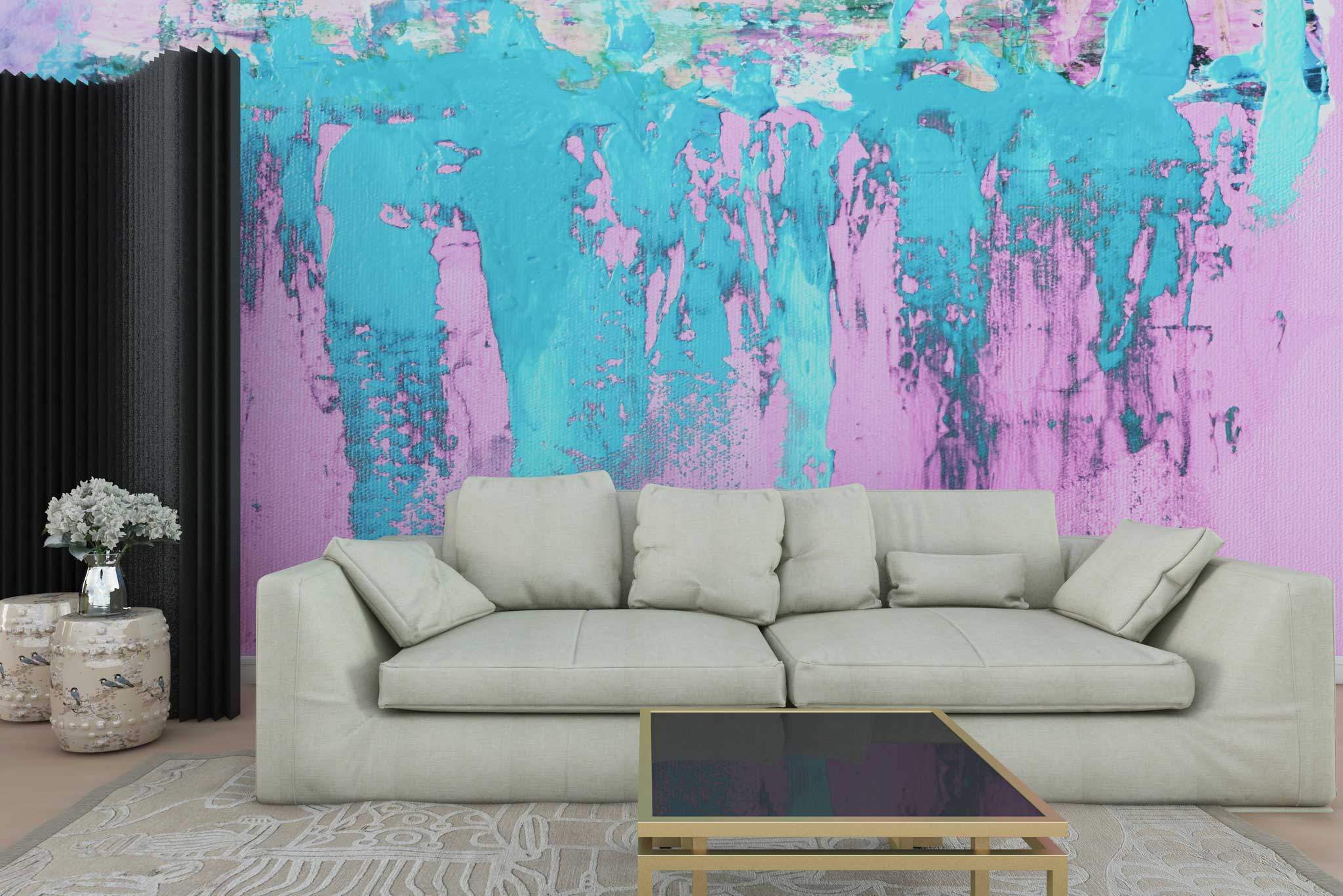 tapet-fototapet-personalizat-comanda-bucuresti-model-pictura-arta-abstracta-roz-turcoaz-perete-lux-special