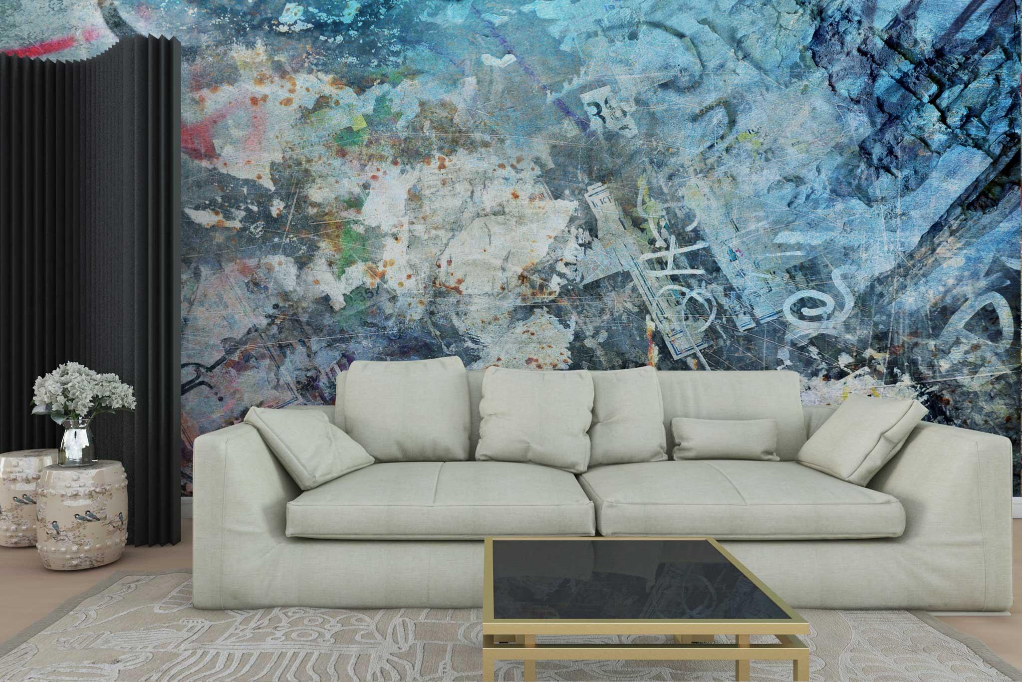 tapet-fototapet-personalizat-comanda-bucuresti-pictura-abstracta-graffitti-albastru-perete-lux-special