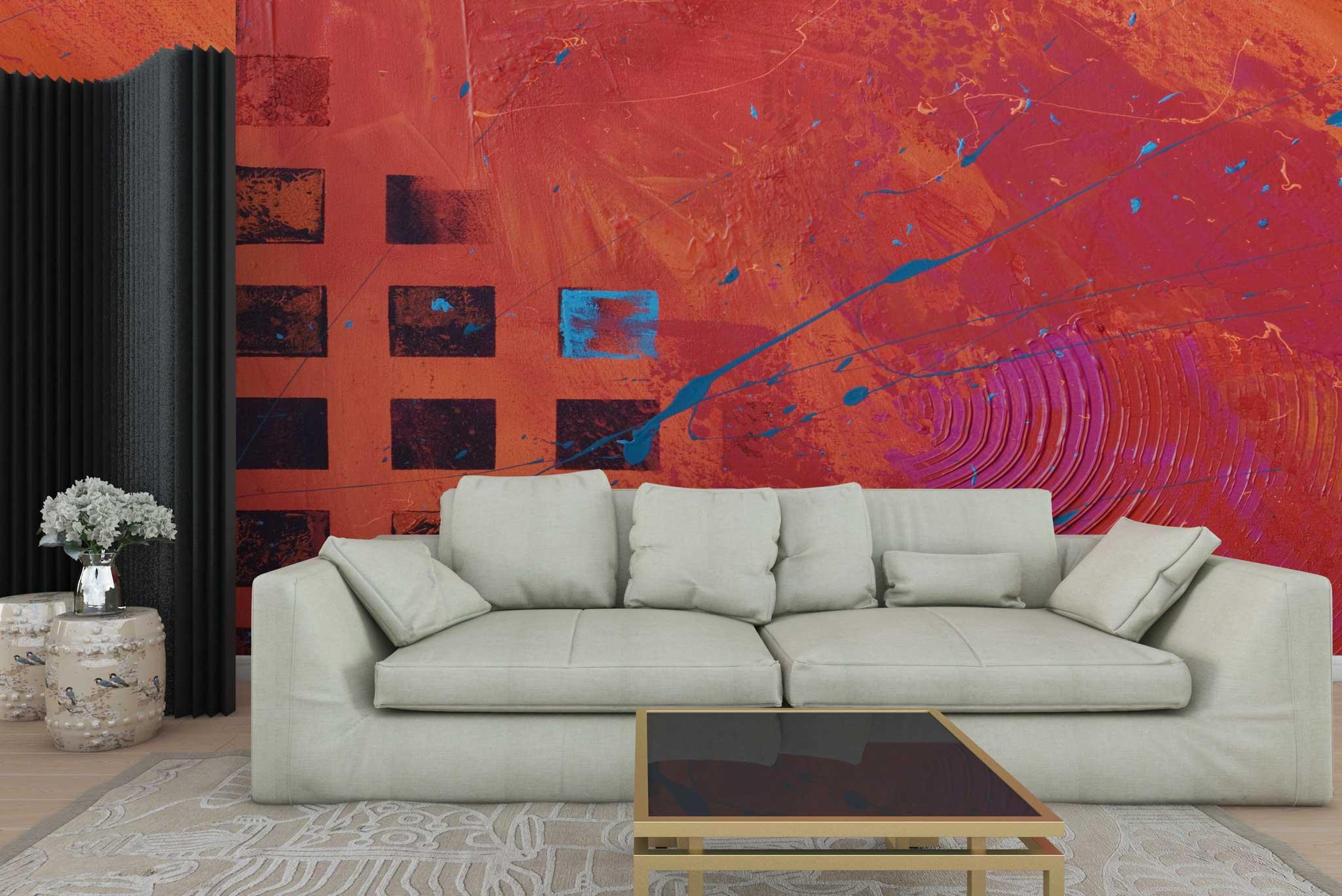 tapet-fototapet-personalizat-comanda-bucuresti-pictura-abstracta-grafic-patrate-negre-rosu-perete-lux-special