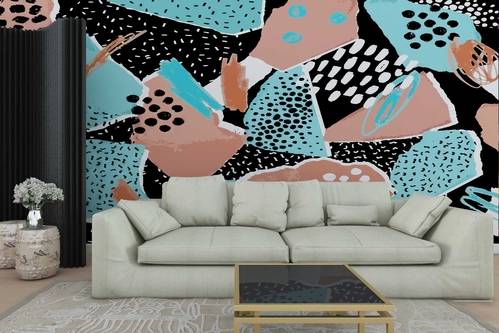 tapet-fototapet-personalizat-comanda-bucuresti-pictura-abstracta-roz-bleu-negru-perete-lux-special