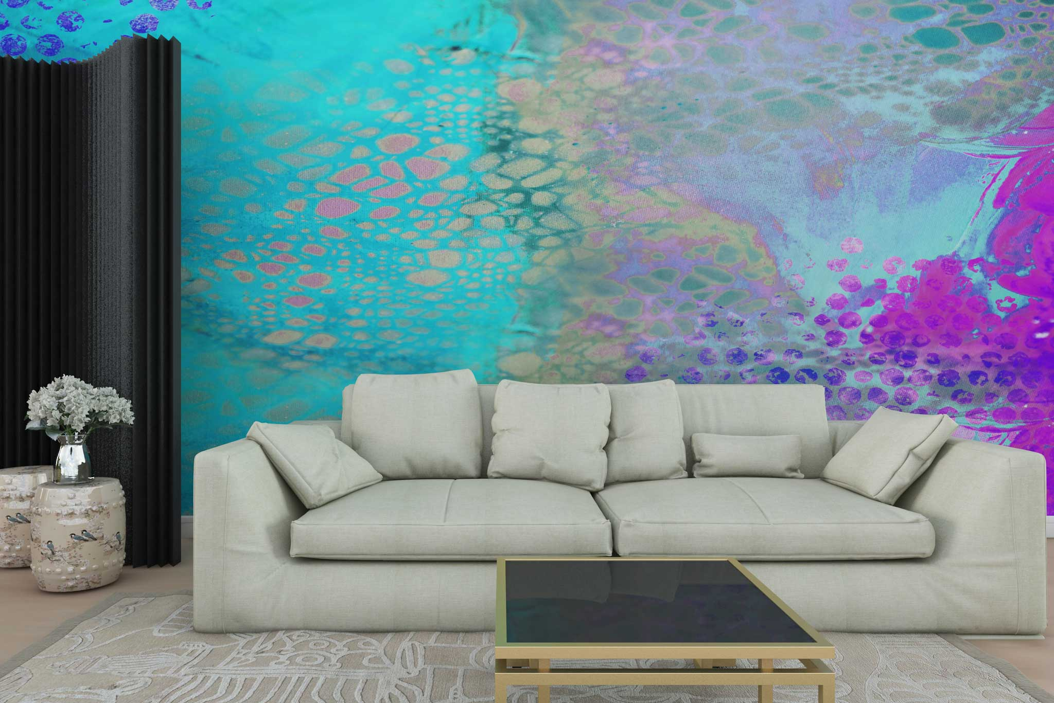 tapet-fototapet-personalizat-comanda-bucuresti-pictura-abstracta-turquoise-perete-lux-special