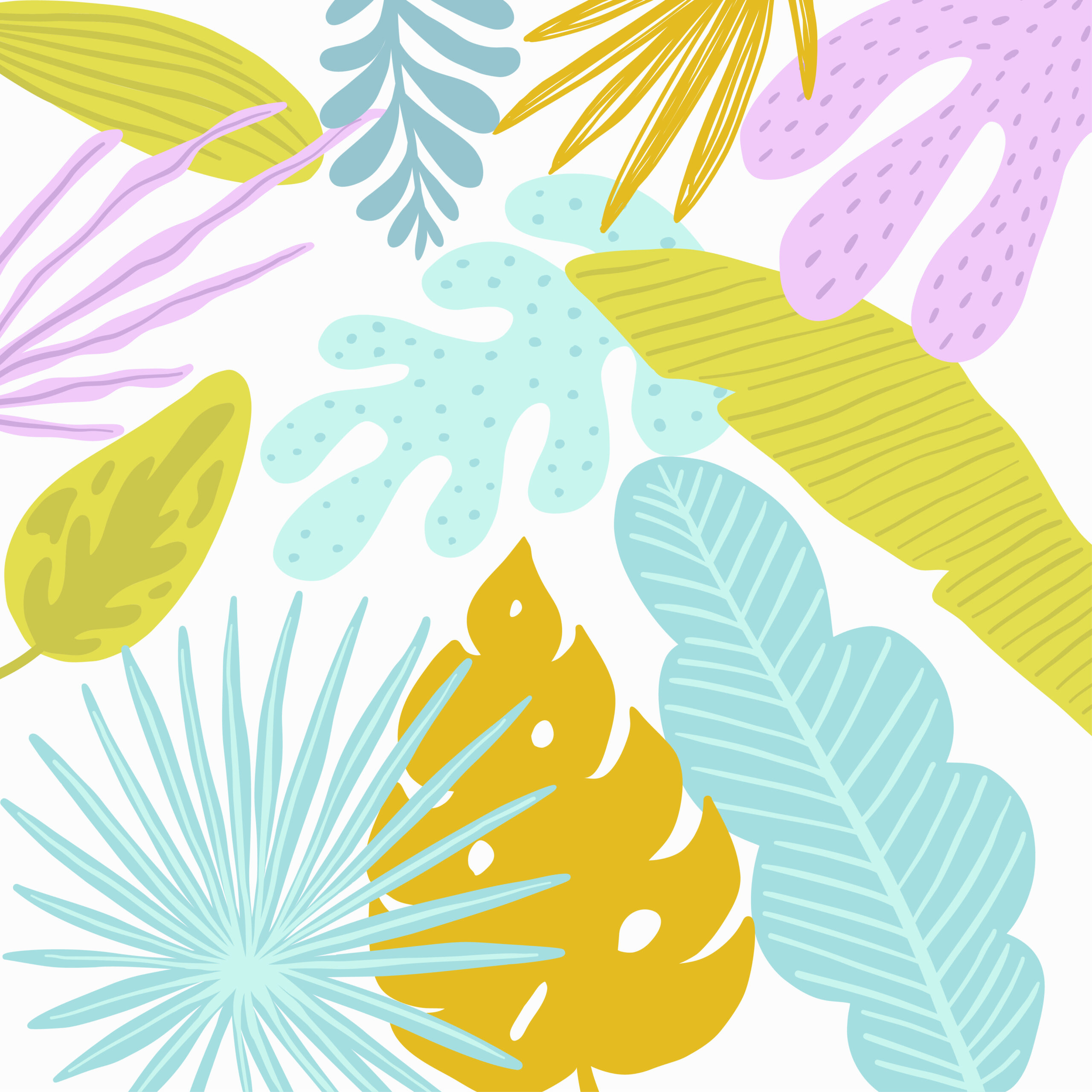 Hello summer tropical pattern with jungle leaves and palm fronds.