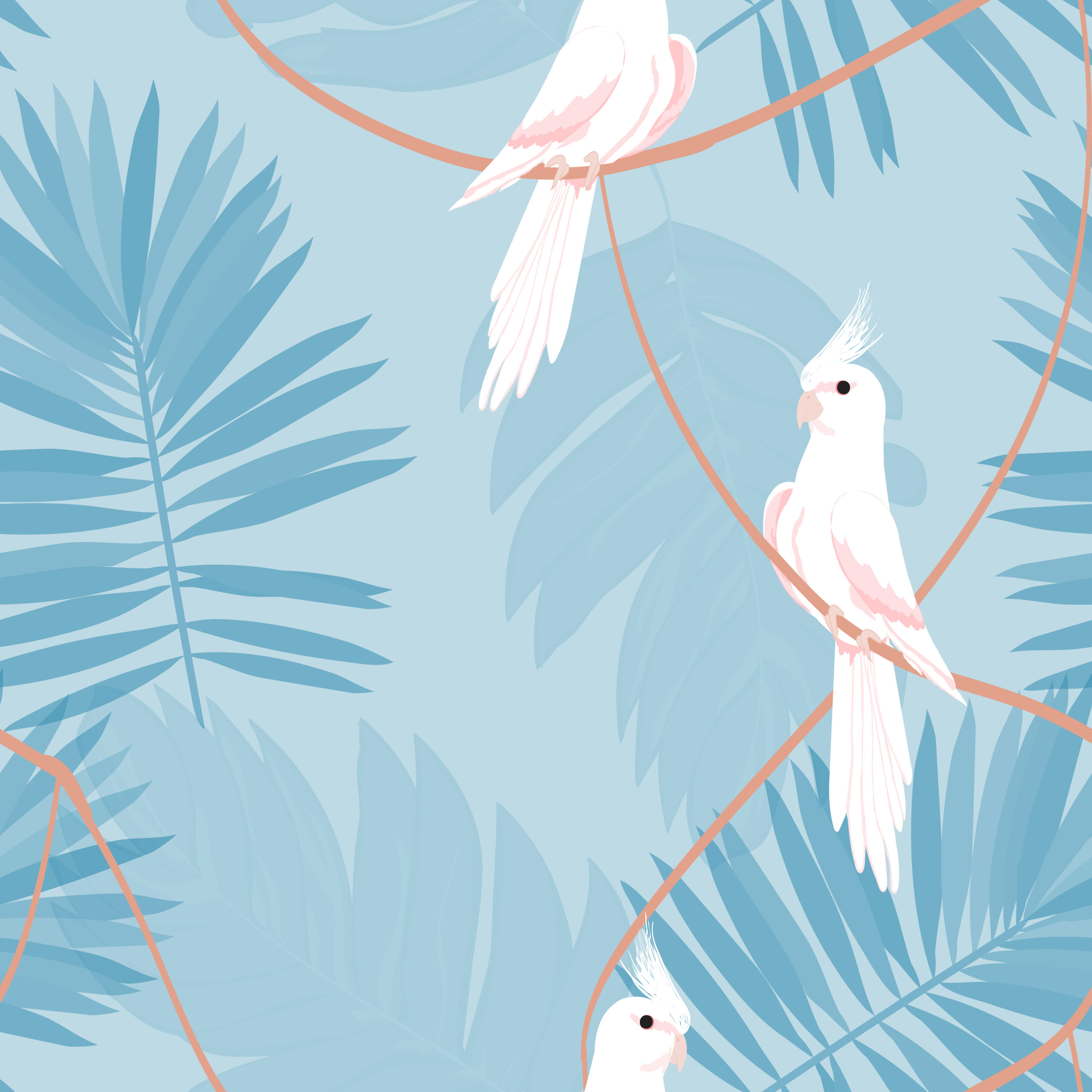 Exotic seamless pattern with a parrot and tropical leaves. Beautiful White Corella on the vine.